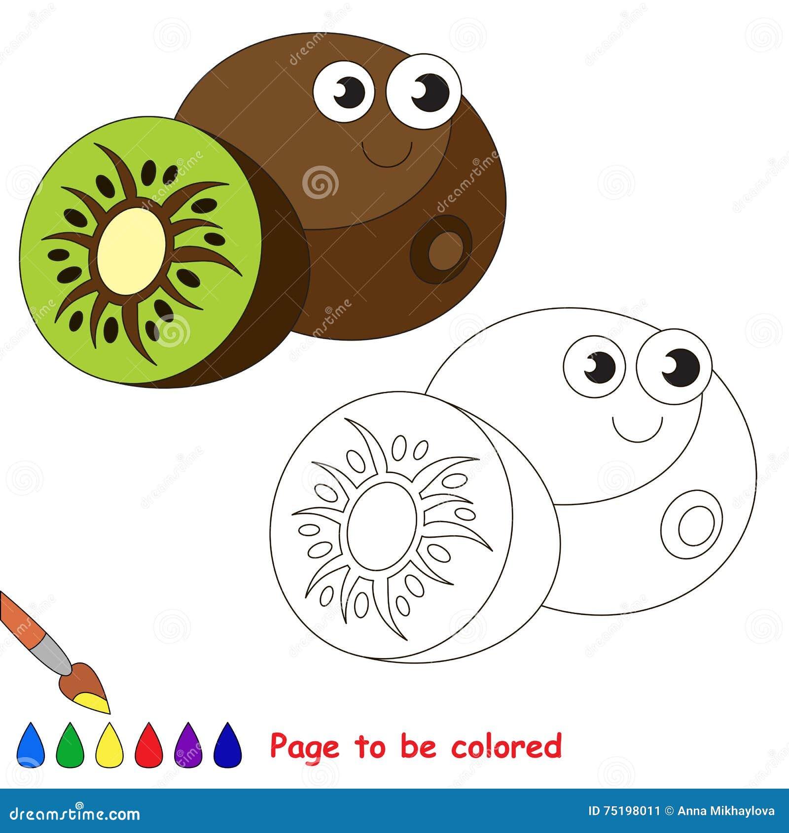 Fumetto Divertente Del Kiwi Pagina Da Colorare Illustrazione