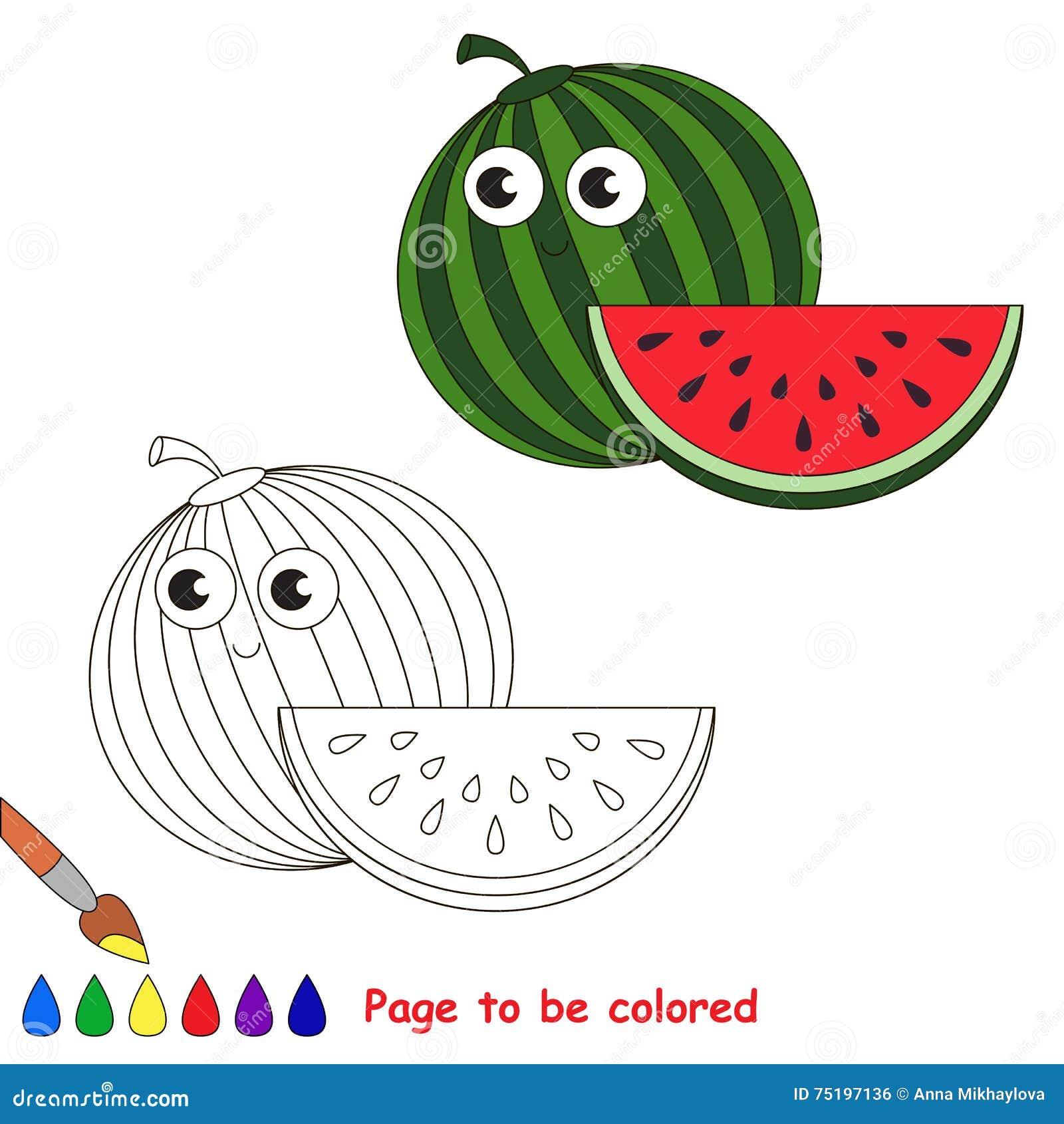 Fumetto Divertente Dell Anguria Pagina Da Colorare Illustrazione
