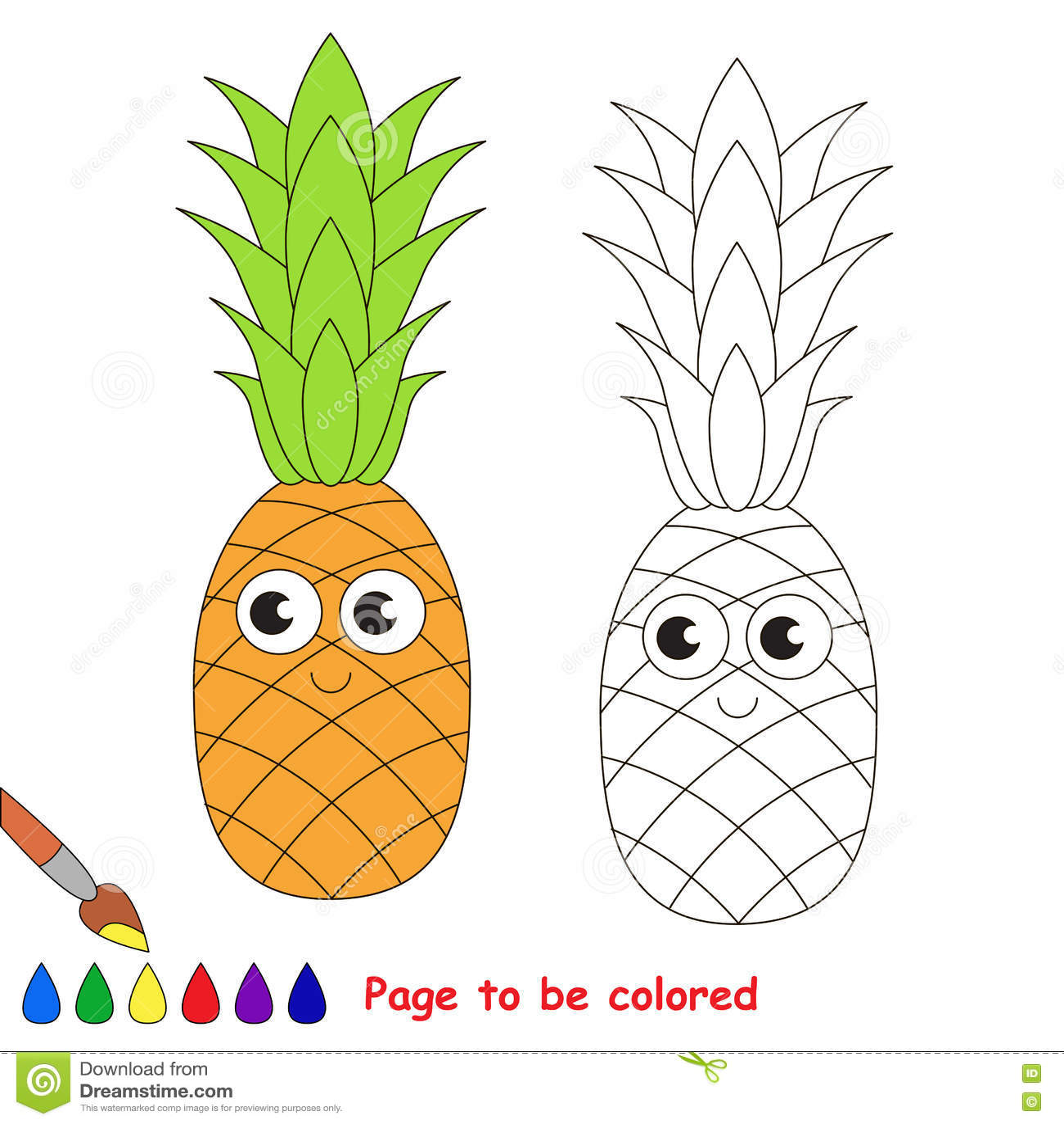 Fumetto Dolce Dell Ananas Pagina Da Colorare Illustrazione