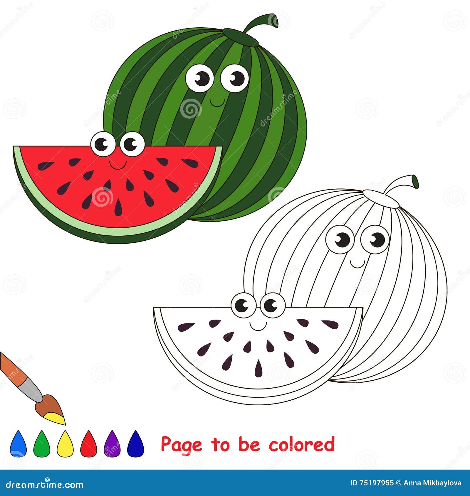 Fumetto Dolce Dell Anguria Pagina Da Colorare Illustrazione