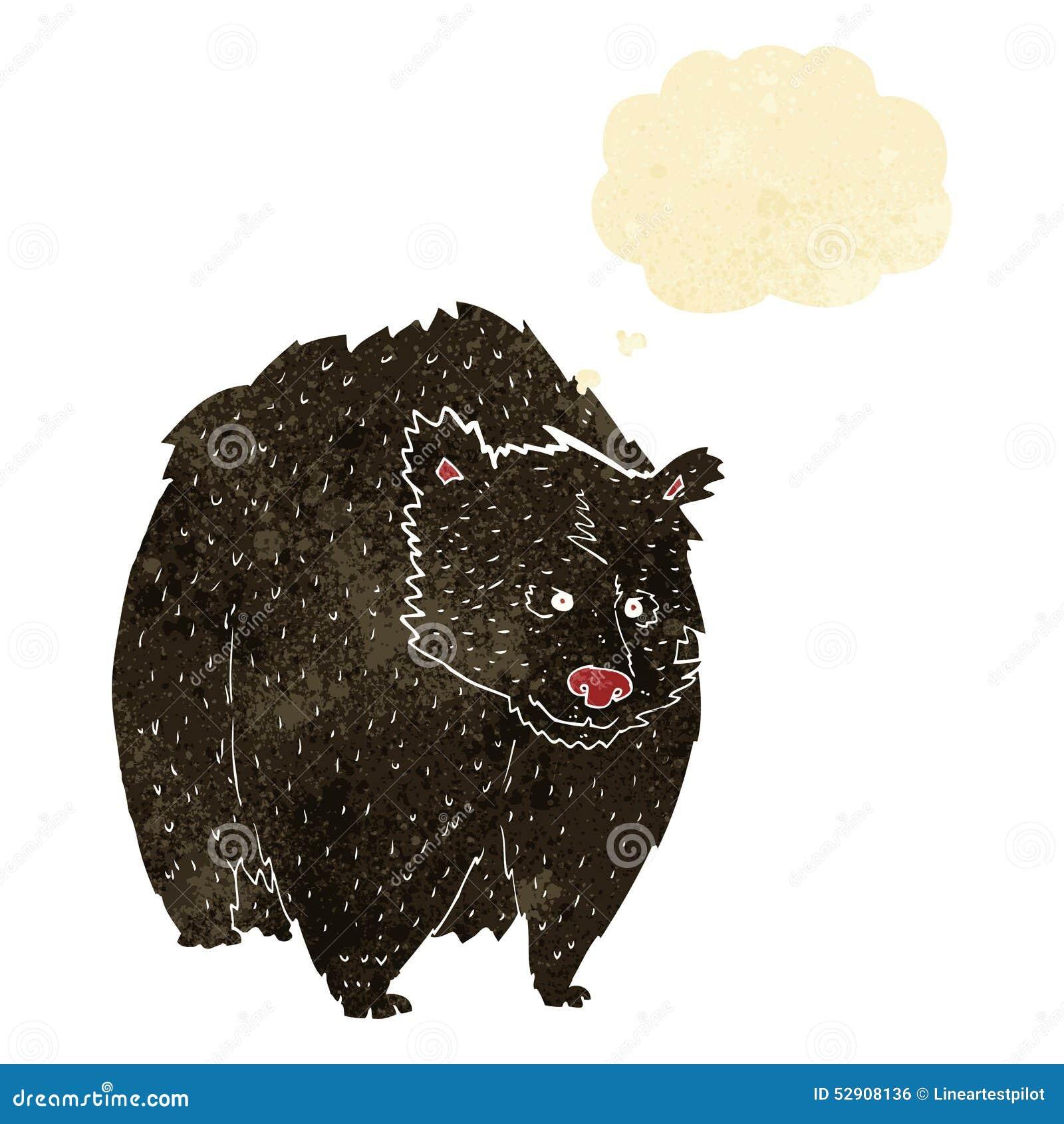 Fumetto enorme dell orso nero con la bolla di pensiero