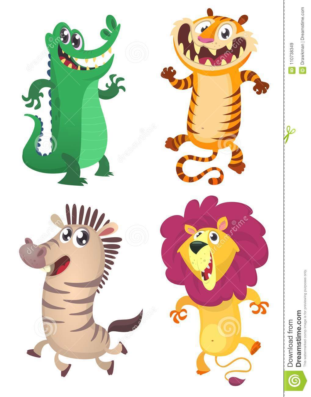 Fumetto Forest Animals Set Vector l illustrazione del coccodrillo, la tigre, la zebra, leone