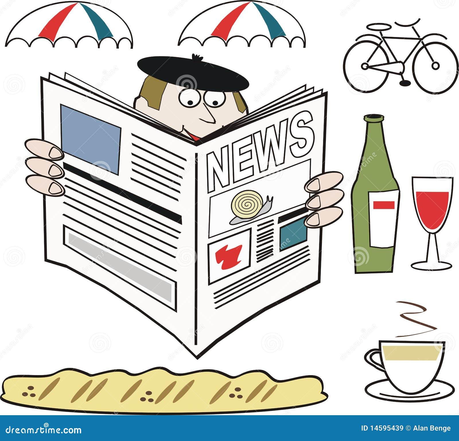 Fumetto del giornale francese della lettura dell'uomo con i parasoli
