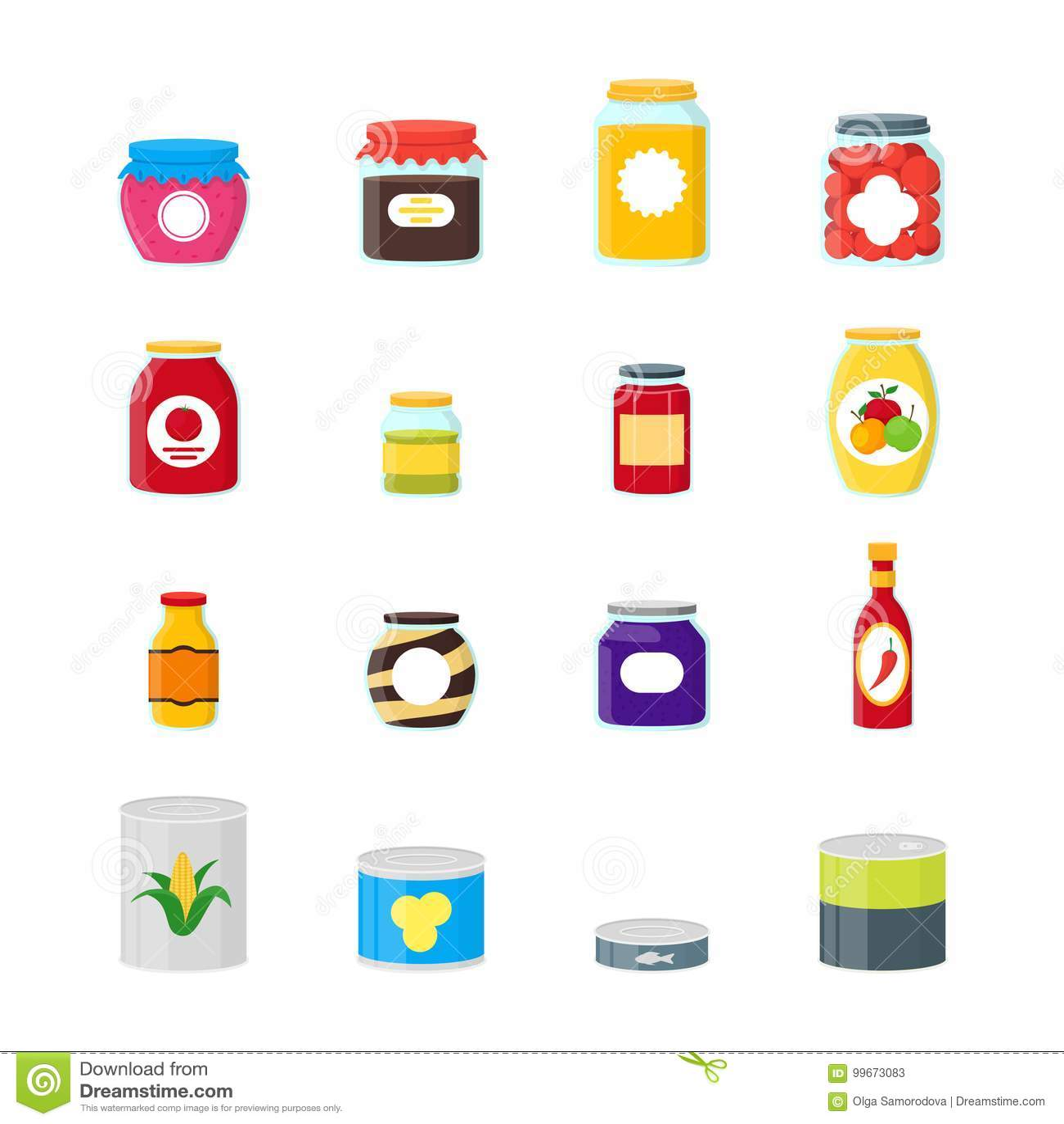 Fumetto inscatolato ed icone di colore di alimento del barattolo messe Vettore