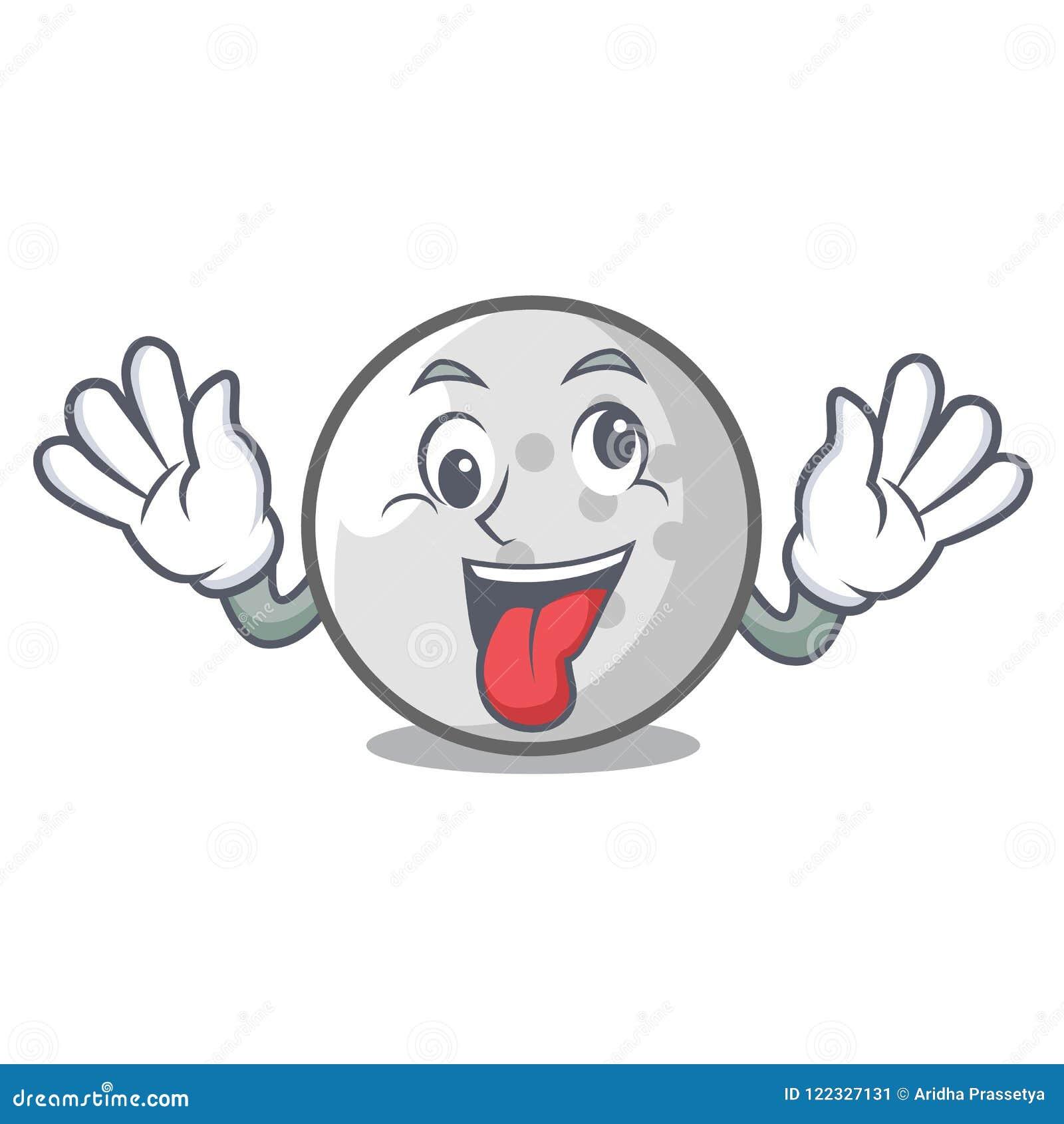 Fumetto pazzo della mascotte della palla da golf