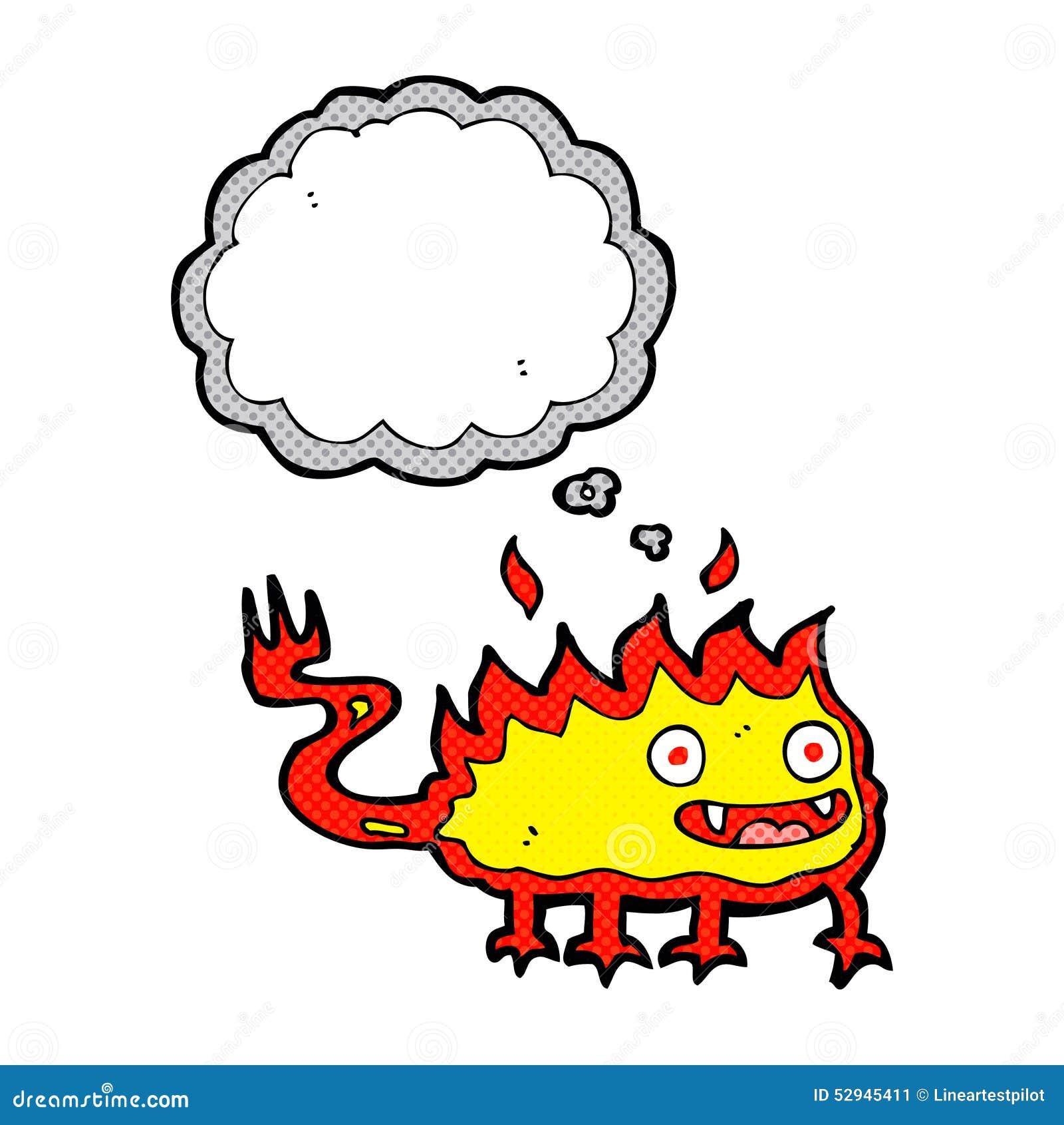 Fumetto Poco Demone Del Fuoco Con La Bolla Di Pensiero Illustrazione