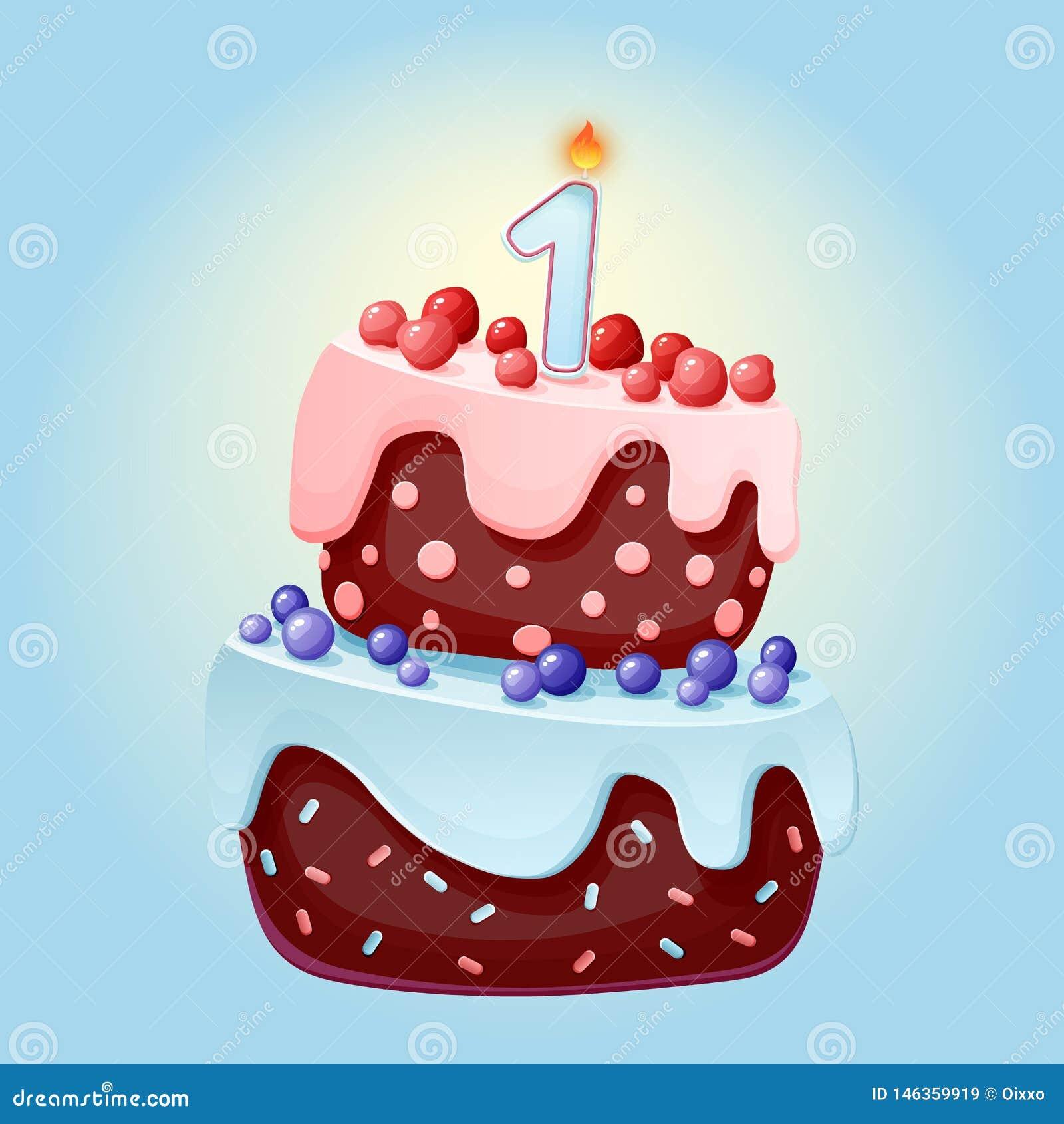 Fumetto sveglio dolce festivo di compleanno di 1 anno con una candela Biscotto del cioccolato con le bacche, le ciliege ed i mirt
