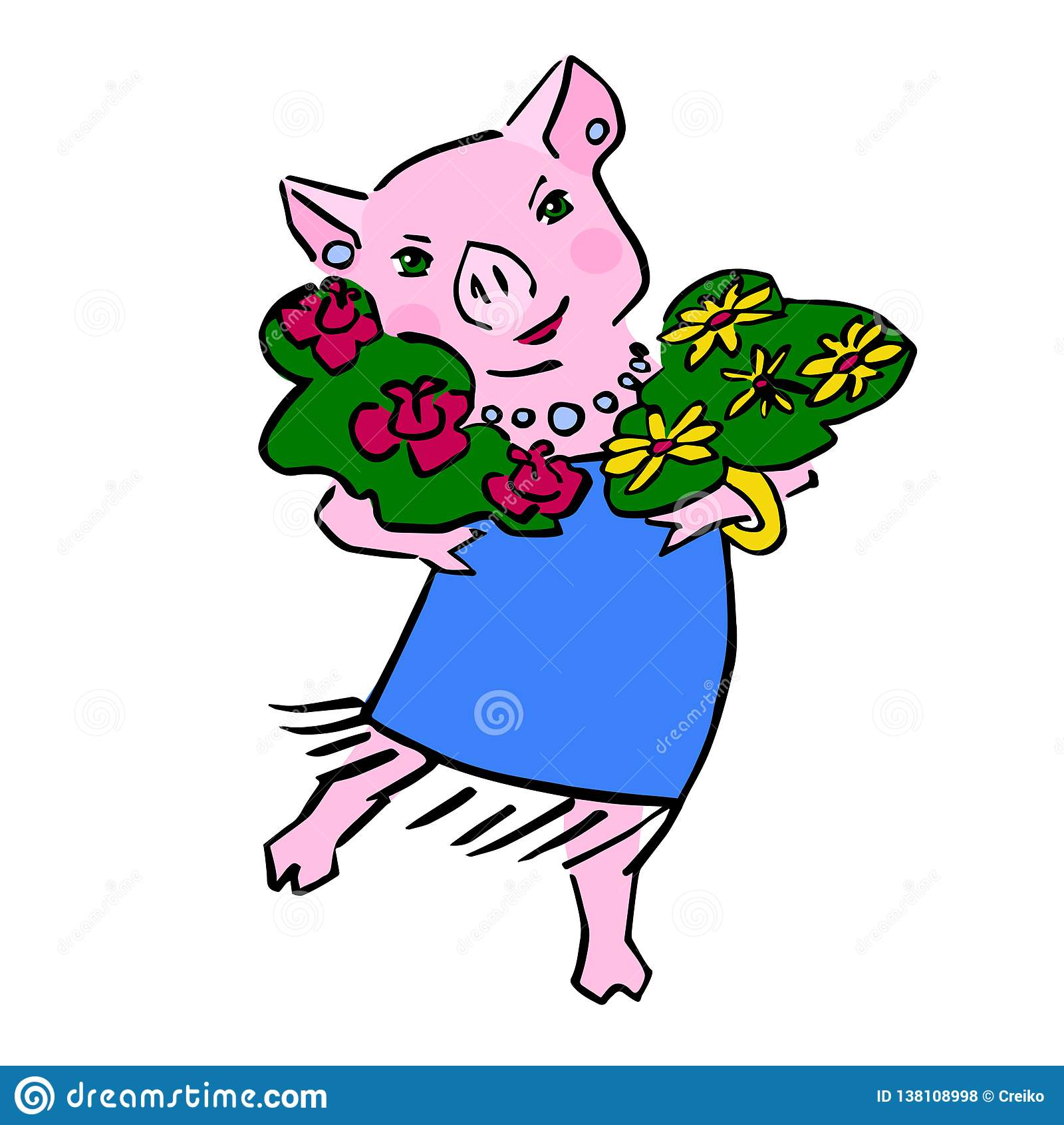 Fumetto sveglio felice del maiale di vettore con il mazzo