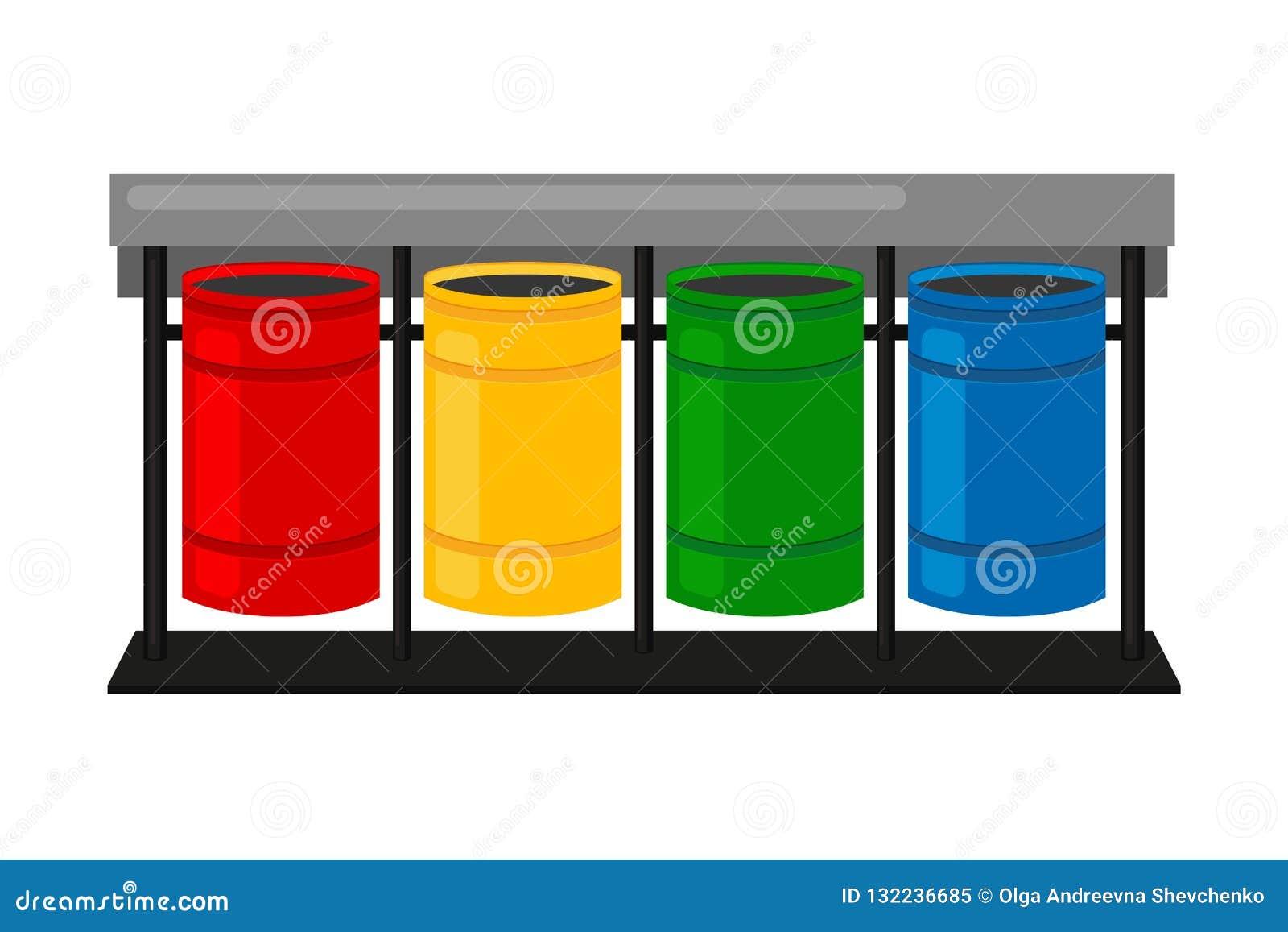 Box Per Bidoni Spazzatura fumetto variopinto che ordina i bidoni della spazzatura