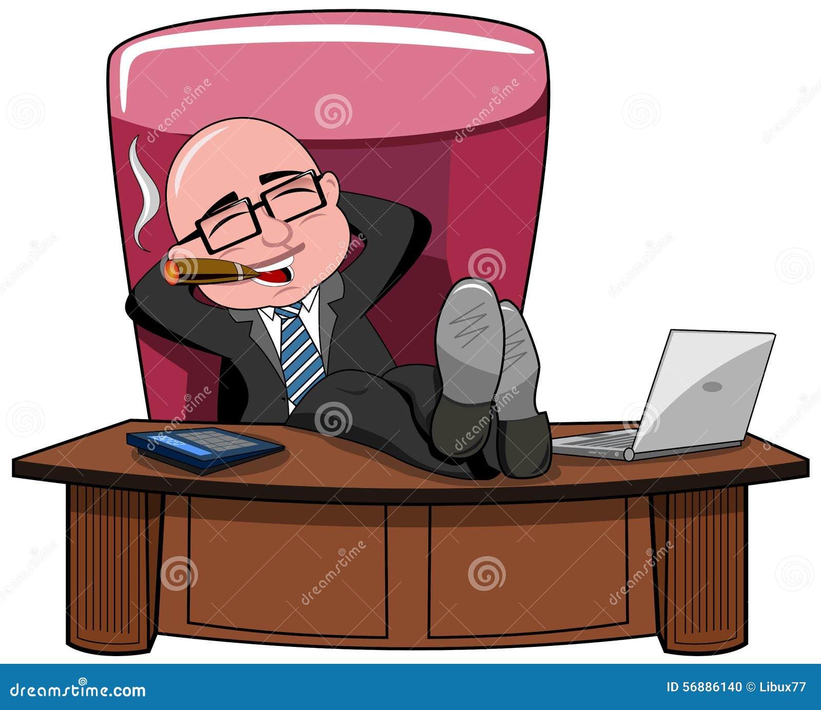 Fumo dello scrittorio di Bald Boss Legs dell uomo d affari isolato