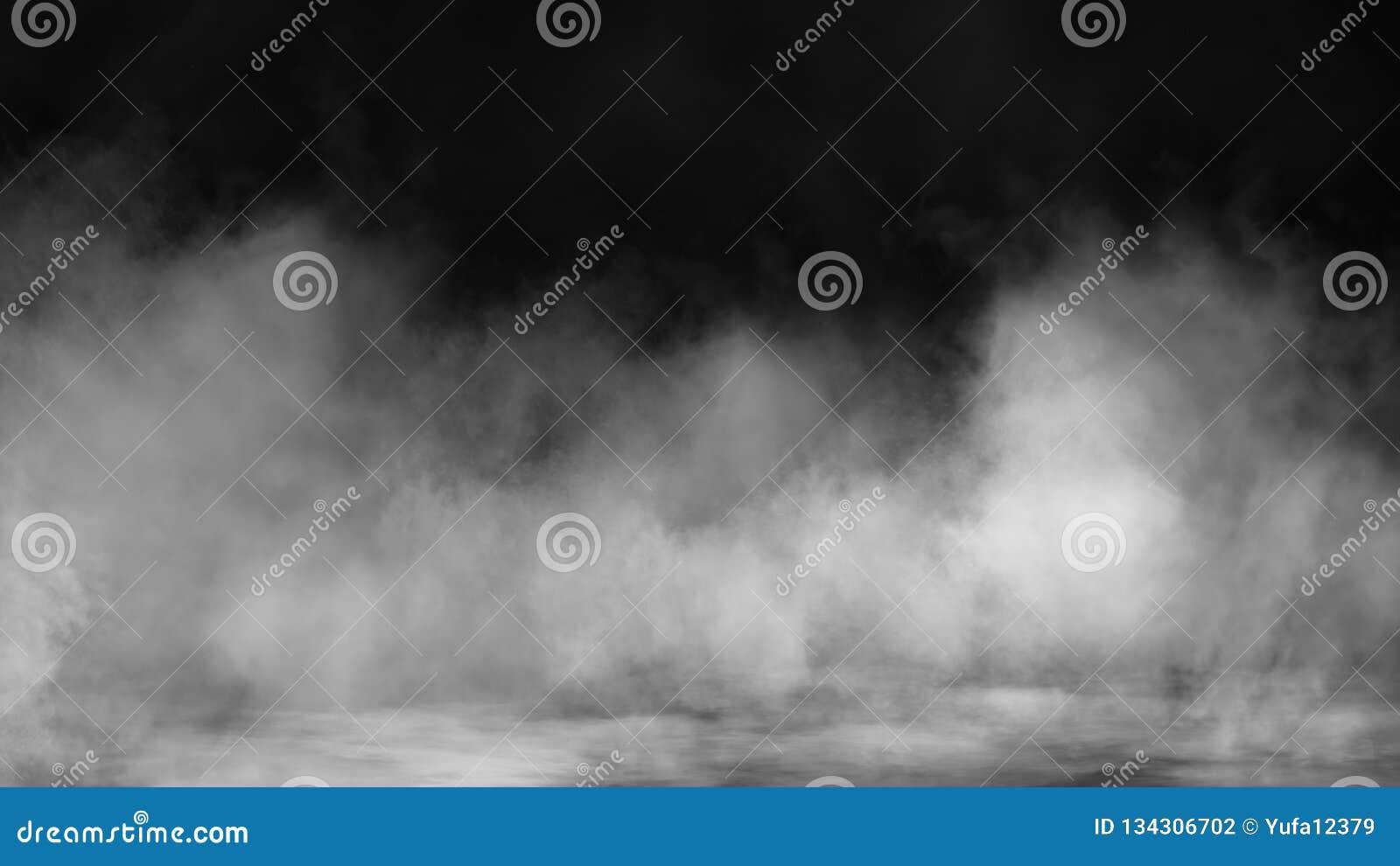 Fumo no assoalho Fundo preto isolado Folhas de prova enevoadas da textura do efeito de névoa para o texto ou o espaço