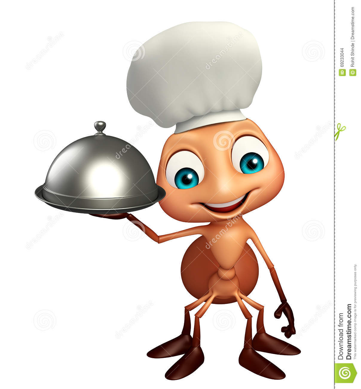 Fun Ant Cartoon Character With Chef Hat And Cloche Stock