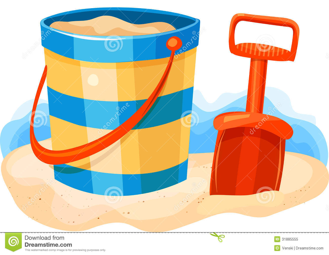 Shovel And Pail On Beach Royalty Free Stock Photo - Image: 31885555