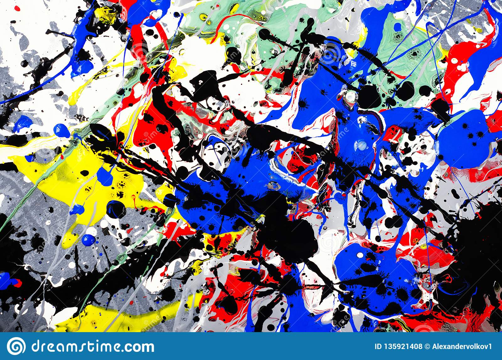Fun beautiful composition artwork design of colorful abstract art expression with fun brush stroke and point watercolor ink