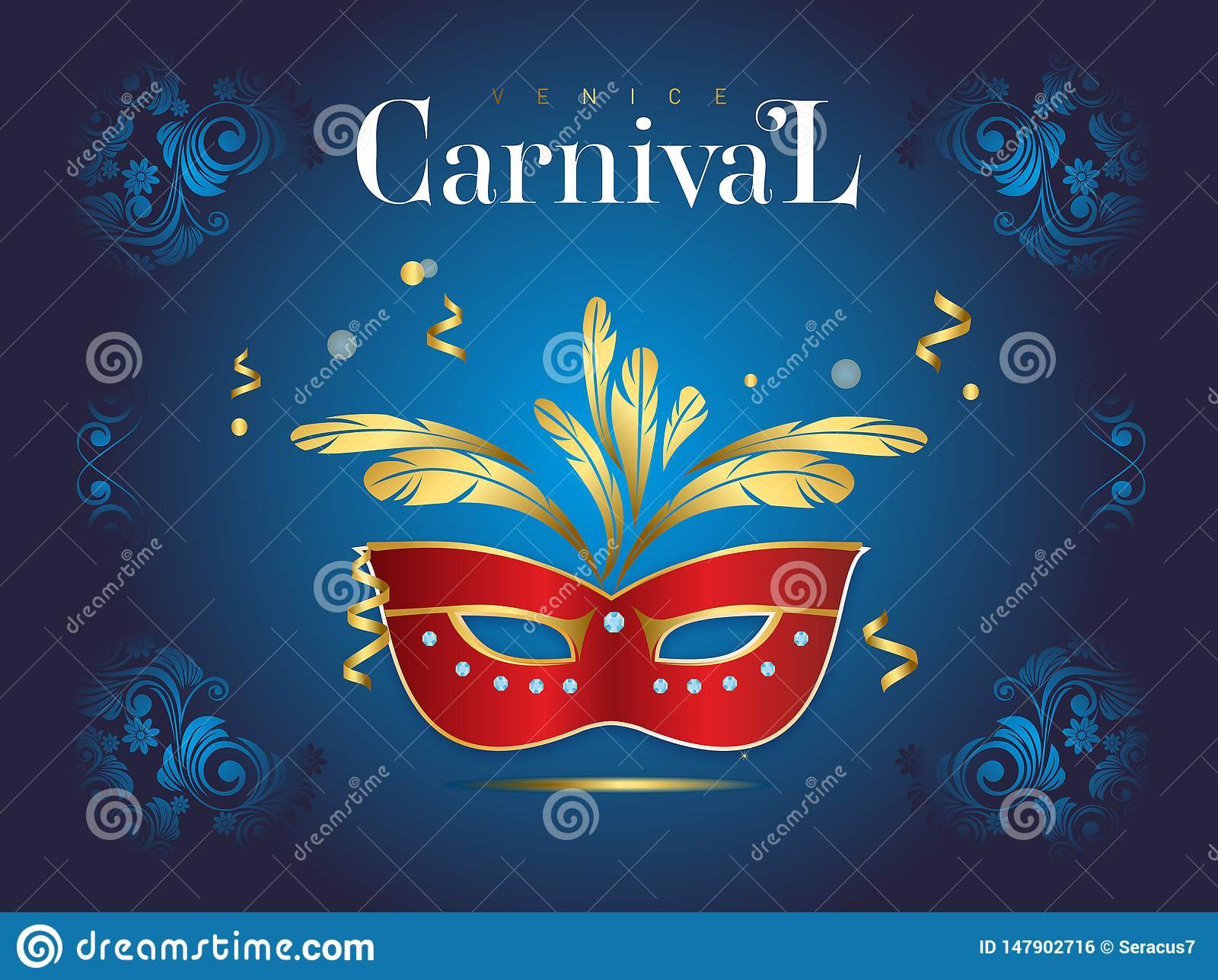 Venetian carnival banner with a luxurious mask and streamers in vector illustration