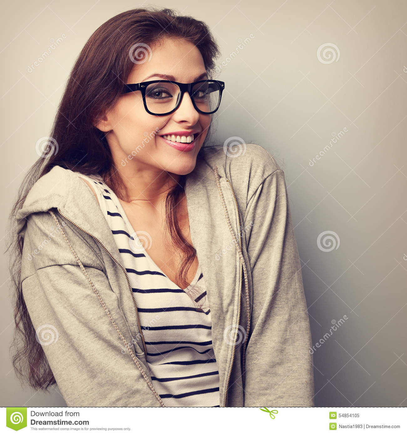 Fun beautiful woman in glasses with happy smile. Vintage portrai