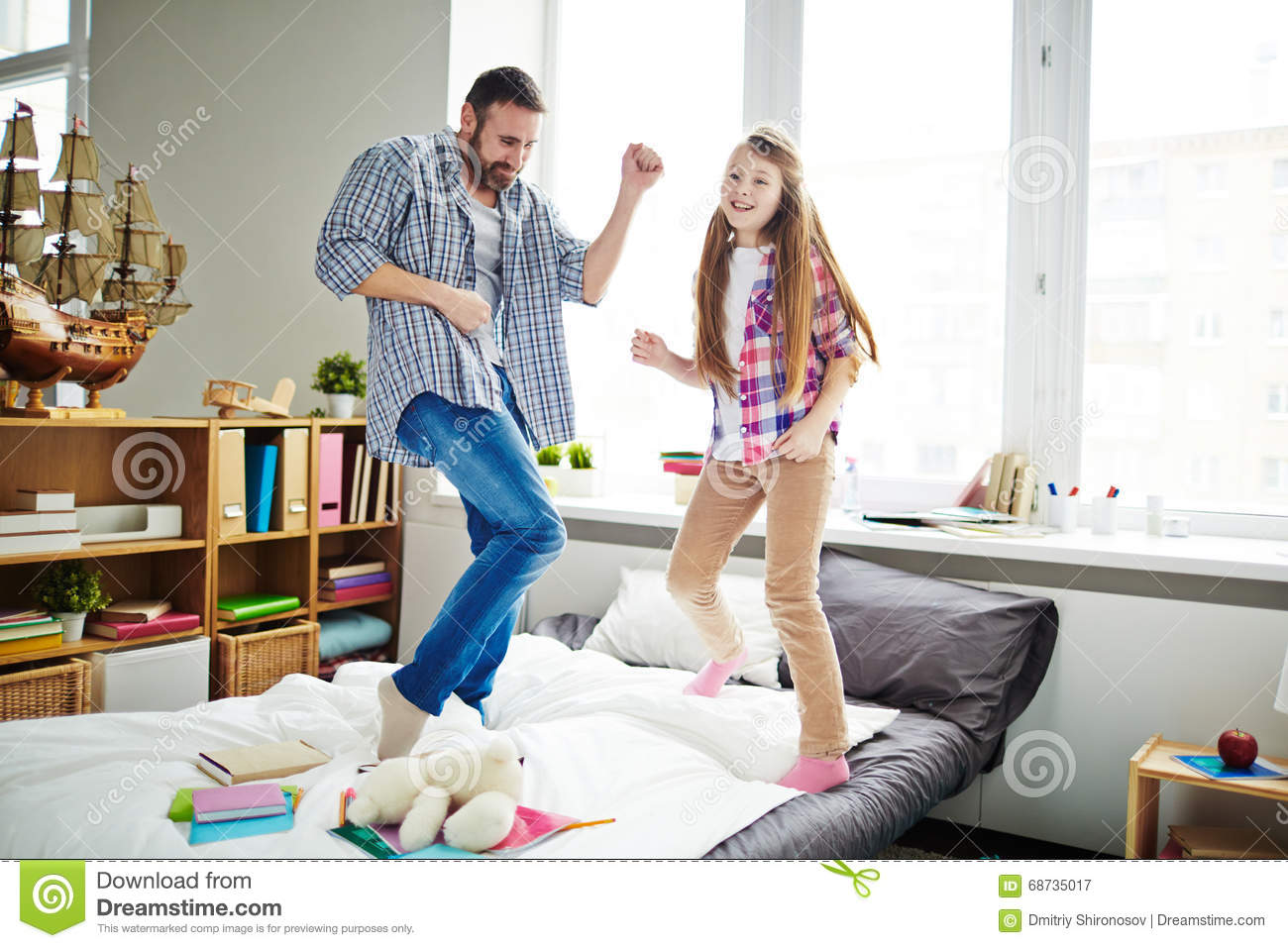 fun in bedroom stock photo image 68735017