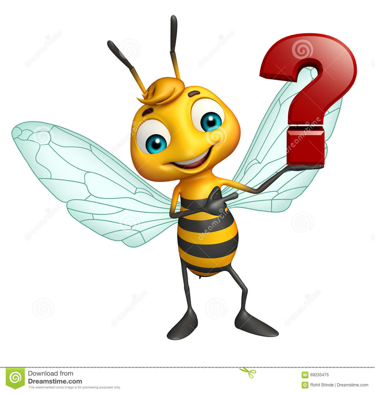 Fun Bee Cartoon Character With Question Mark Sign Stock
