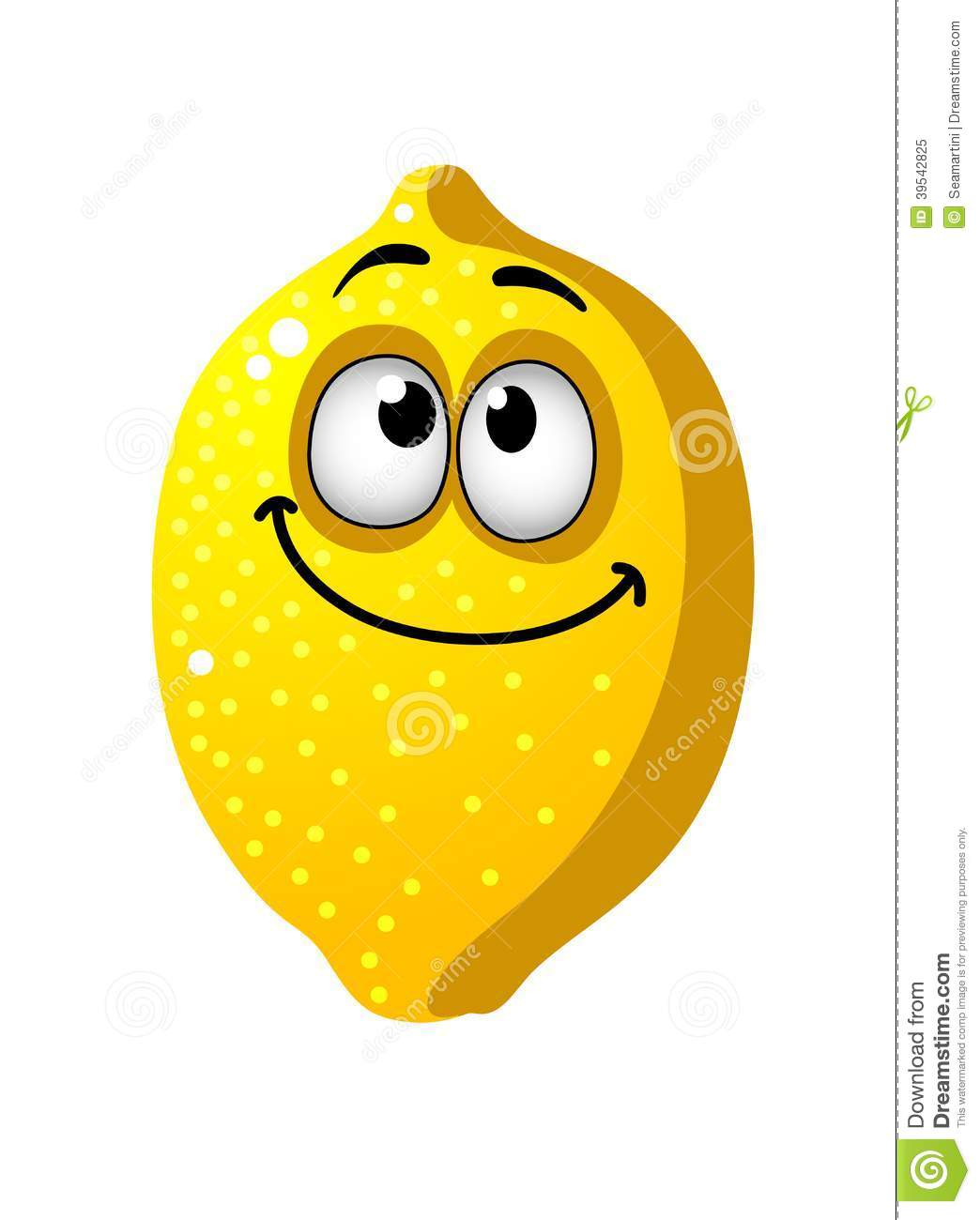 Fun goofy looking yellow cartoon lemon fruit with a happy smile and ...