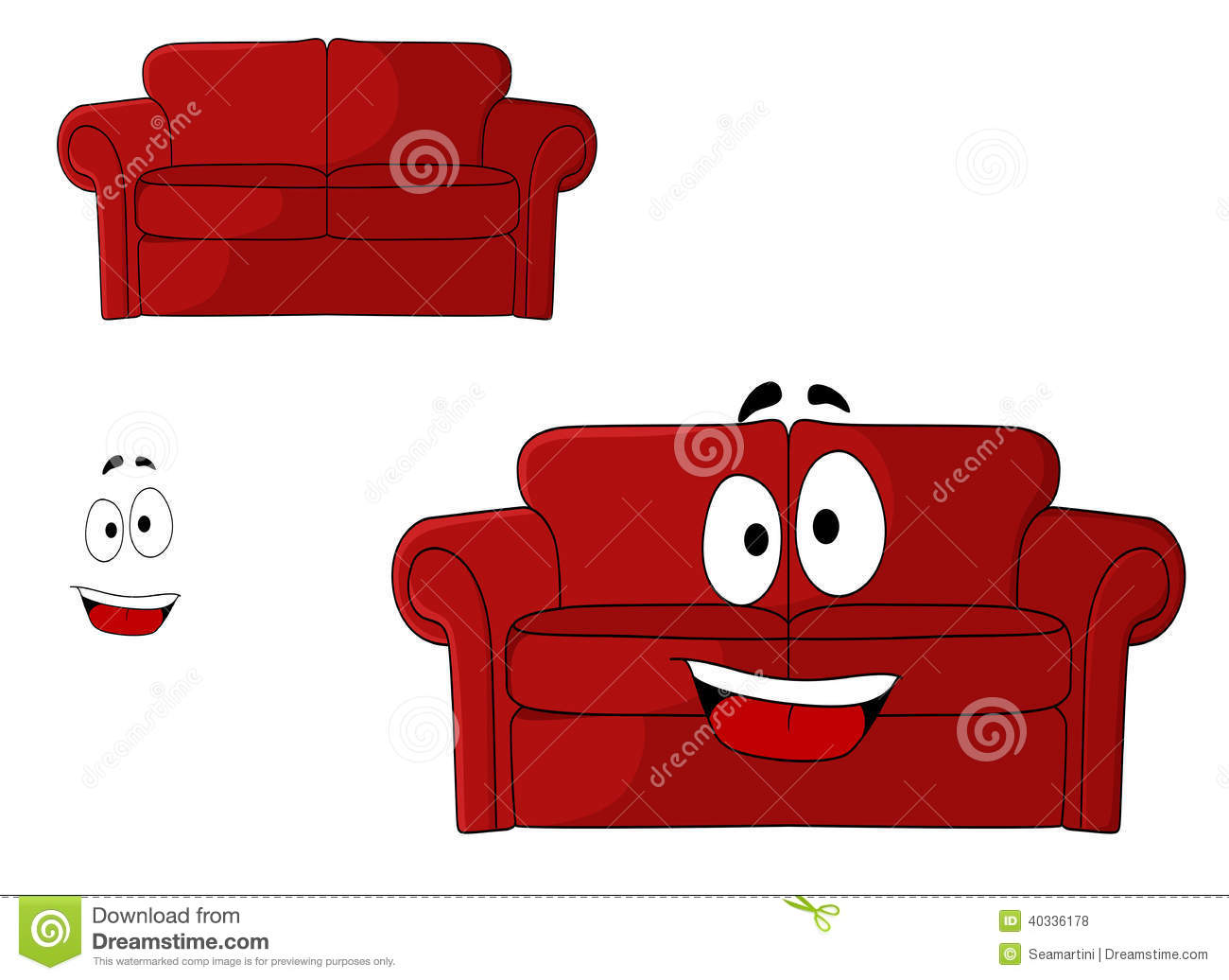 Fun Cartoon Upholstered Red Couch Stock Vector Image