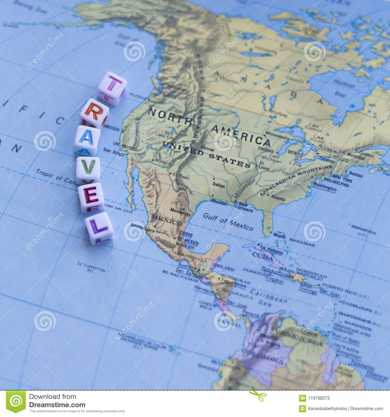 Fun Colorful North America USA Travel Map Stock Image - Image of ...