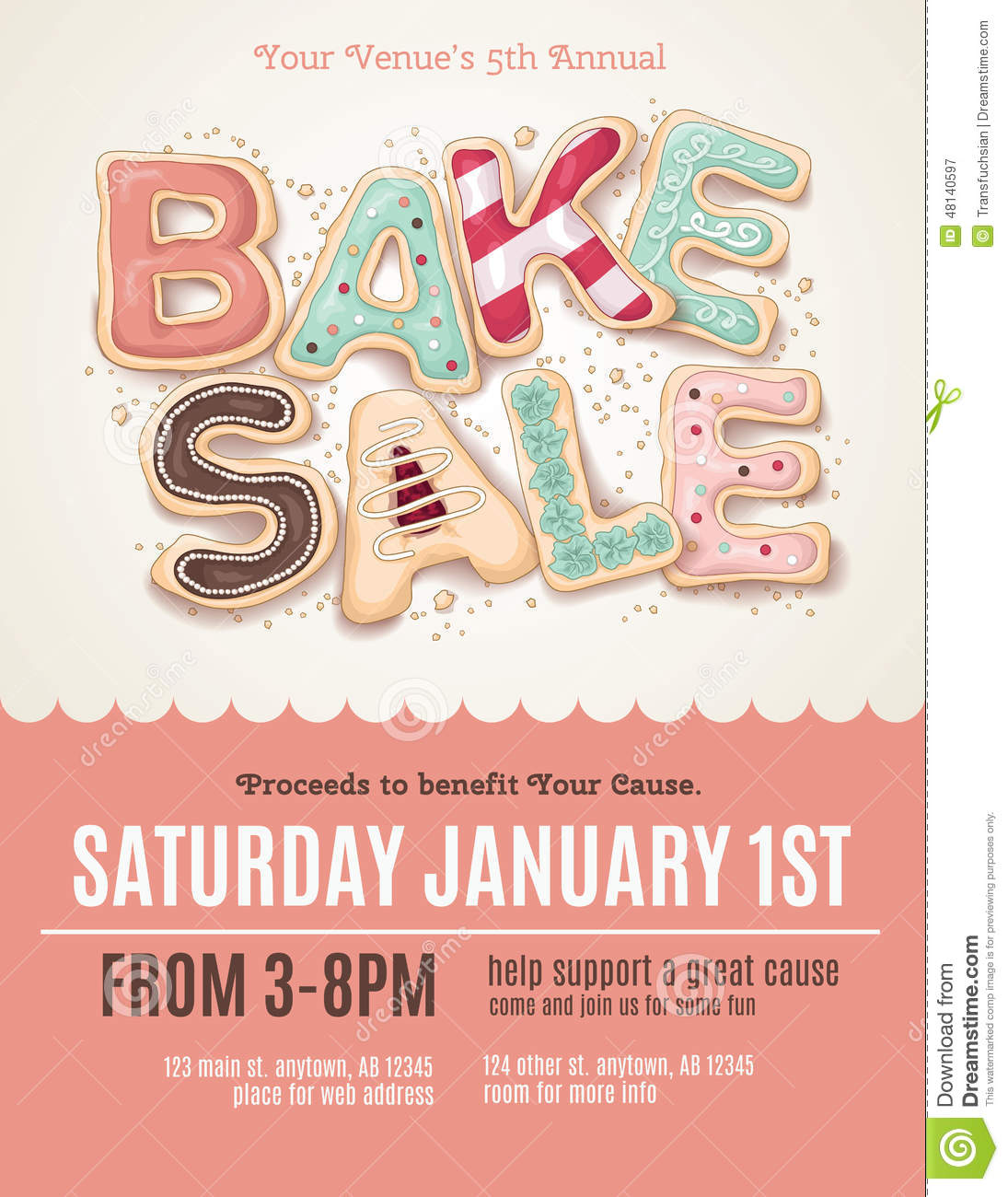 Fun Cookie Bake Sale Flyer Template Stock Vector - Image: 48140597