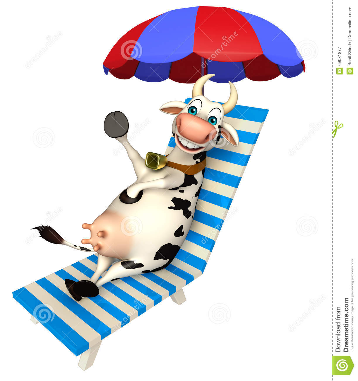 Folding outdoor lounge chair - Fun Cow Cartoon Character With Beach Chair Stock