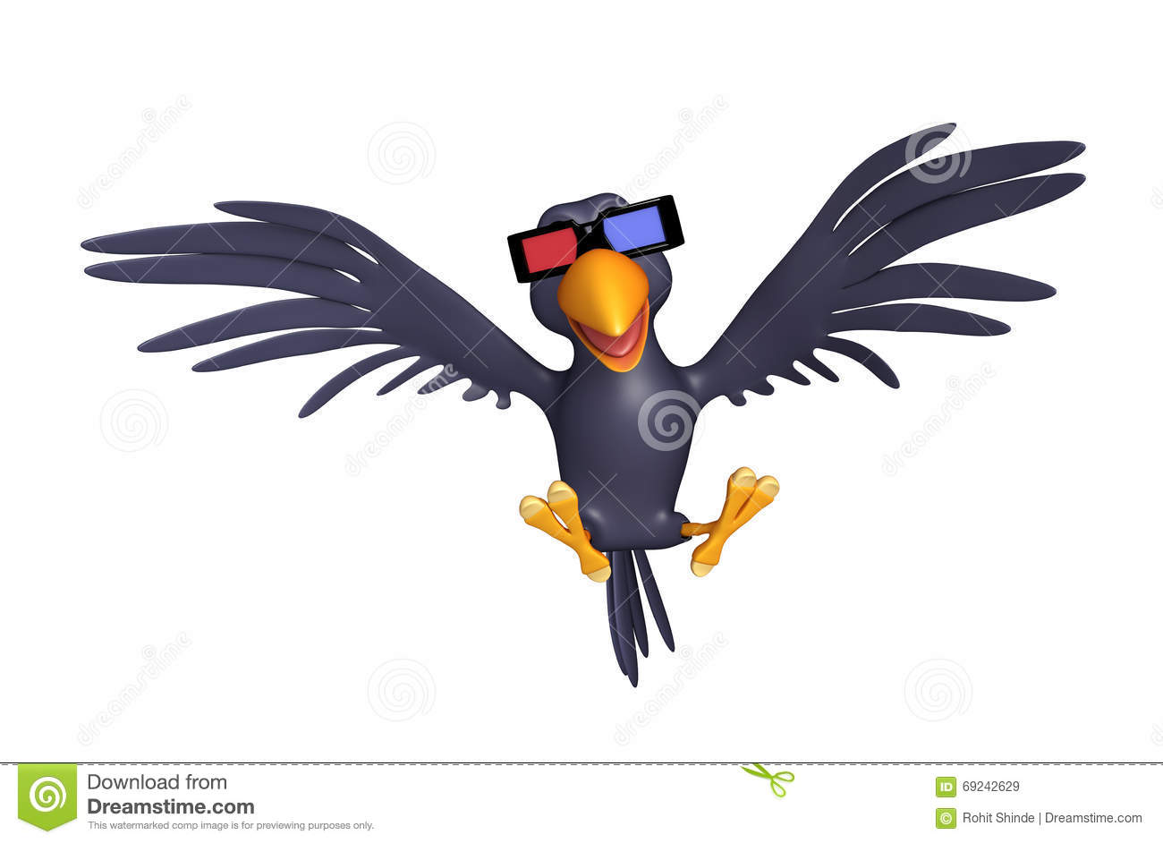 2 Crows Cartoon Characters : Fun crow cartoon character with d gogal stock