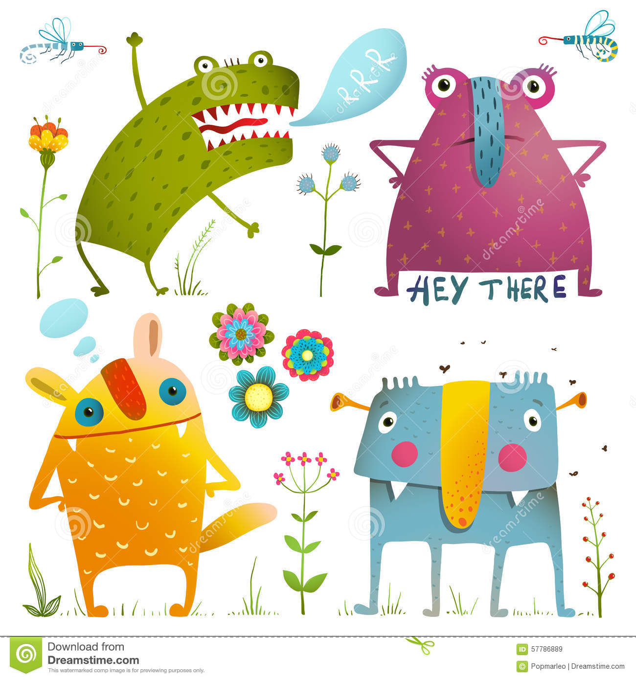 Fun Cute Little Monsters For Kids Design Colorful Stock