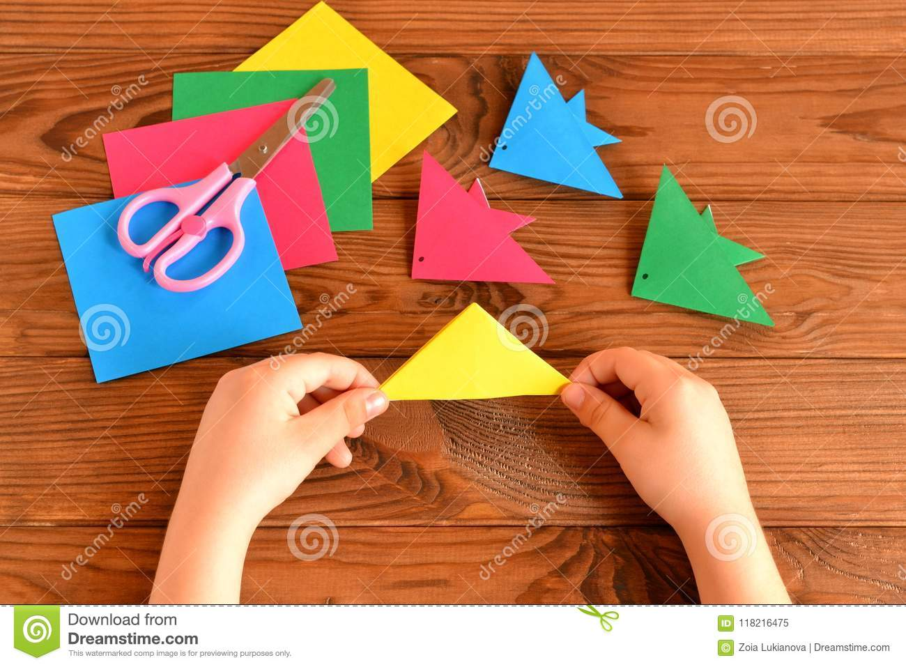 Origami Colorful Fish Paper Sheets Scissors Child Holds Paper