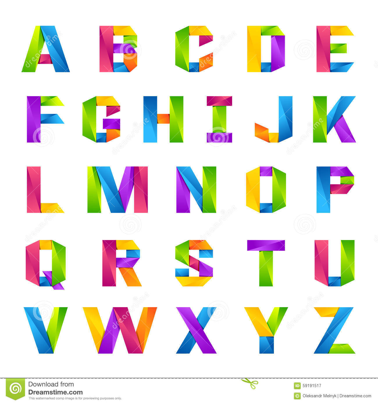 Fun English Alphabet One Line Colorful Letters Set Stock