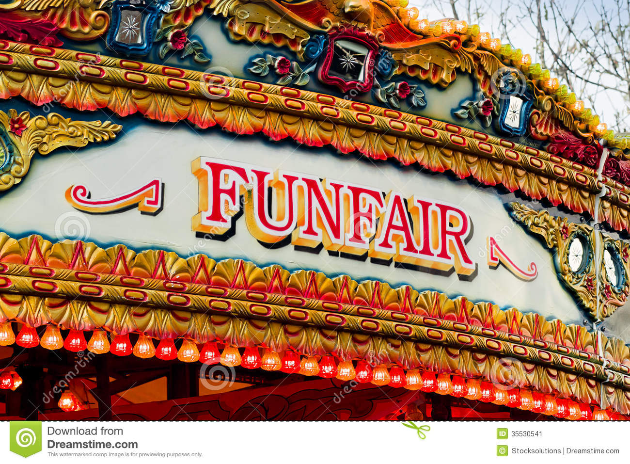 Traditional Carousel funfair sign on amusement ride found at old ...