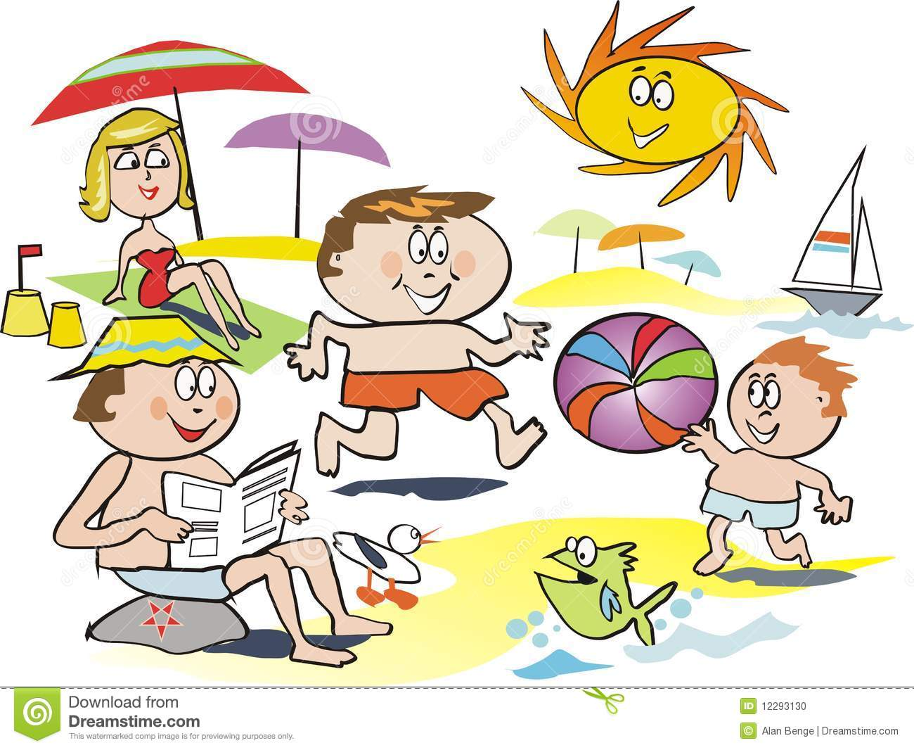 fun family beach cartoon stock photo image 12293130 sunbathing clipart free girl sunbathing clipart