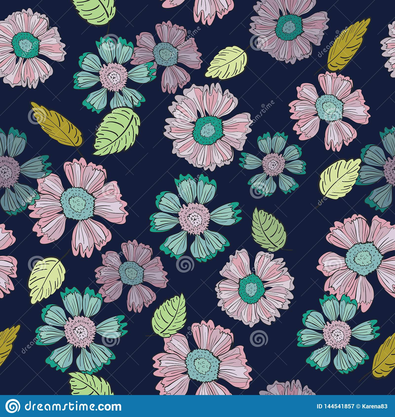 A Fun Floral Repeat Print Pattern  in Vector