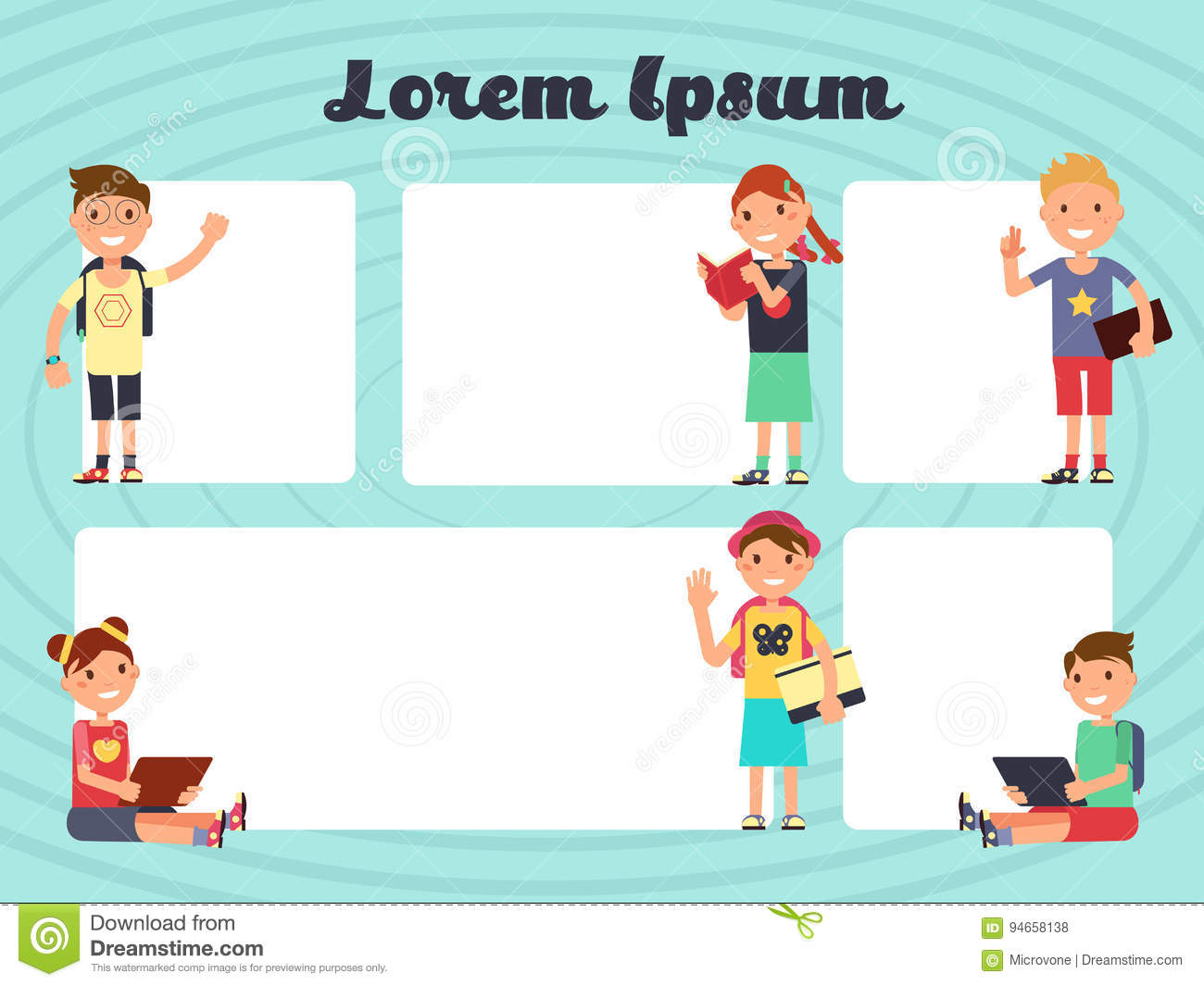 Fun Frames Kids Layout. Vector Texting Brochure Backgrounds With ...