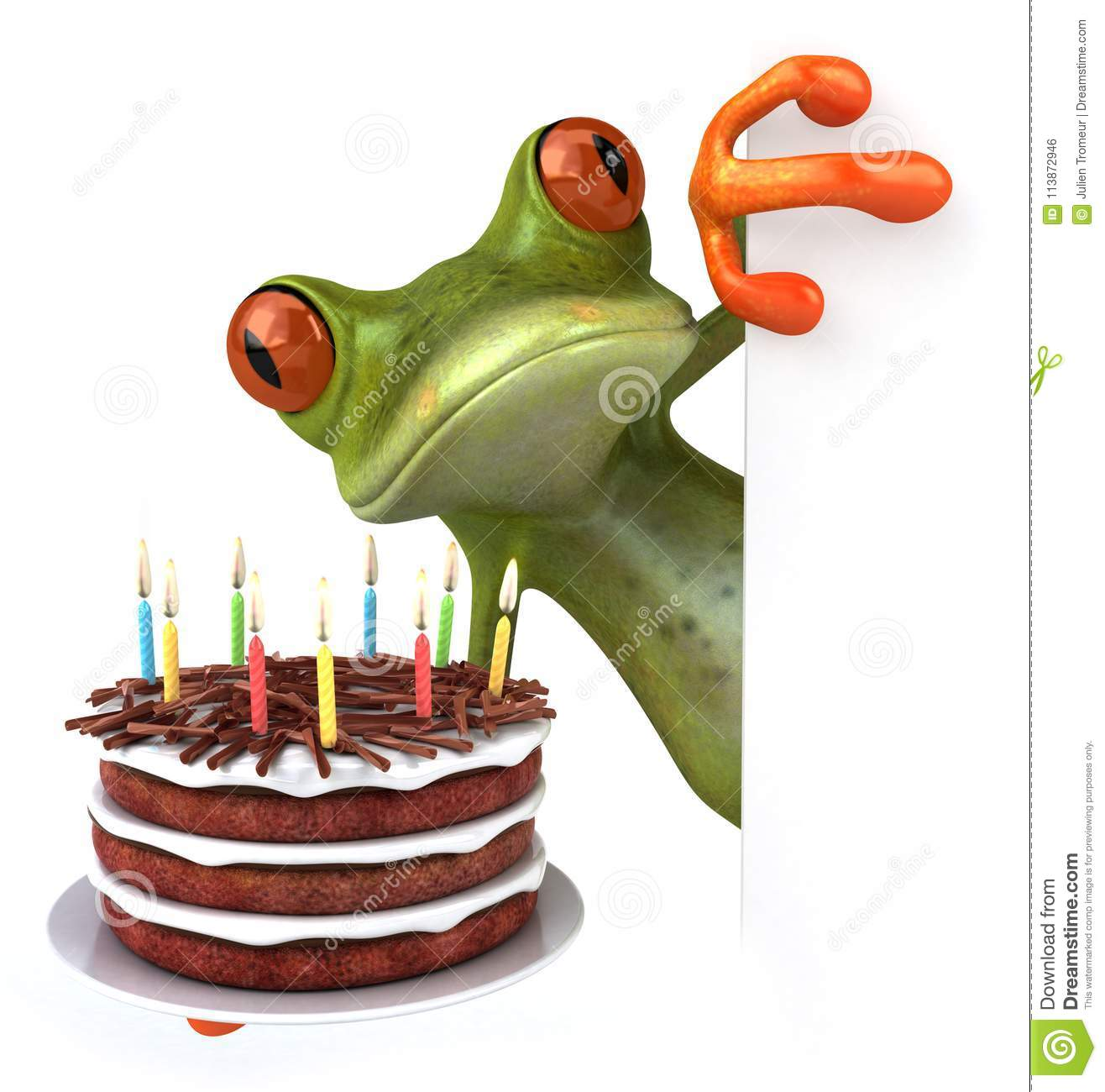 Cool Fun Frog With A Birthday Cake 3D Illustration Stock Illustration Personalised Birthday Cards Epsylily Jamesorg