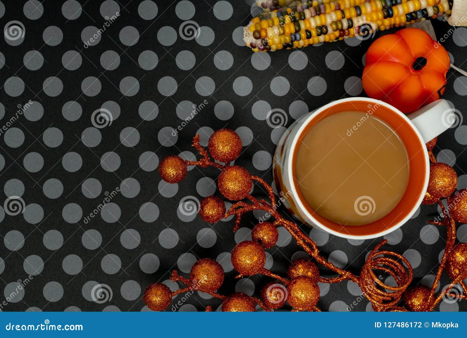 fun halloween background arrangement flat lay with coffee mug and