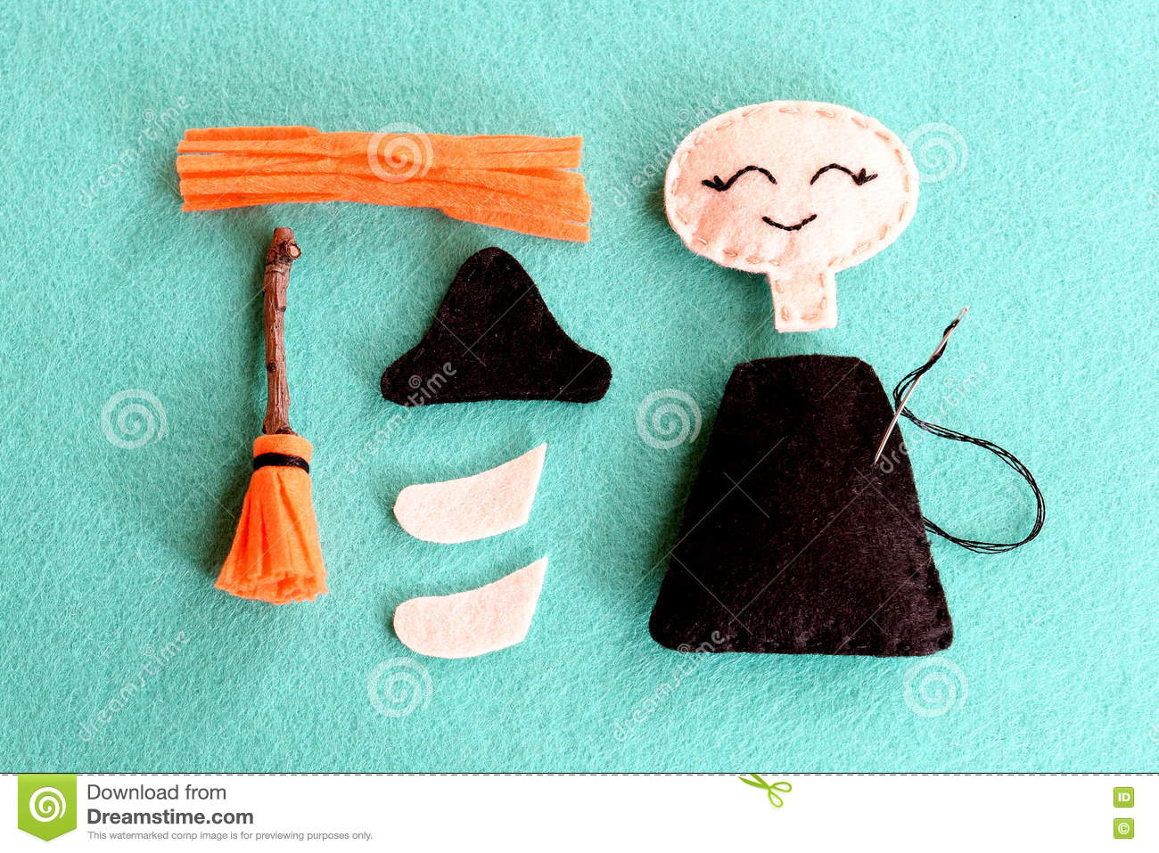 Sewing crafts for children - Fun Halloween Sewing Project For Kids Join The Pieces Of Felt Witch Using A Simple