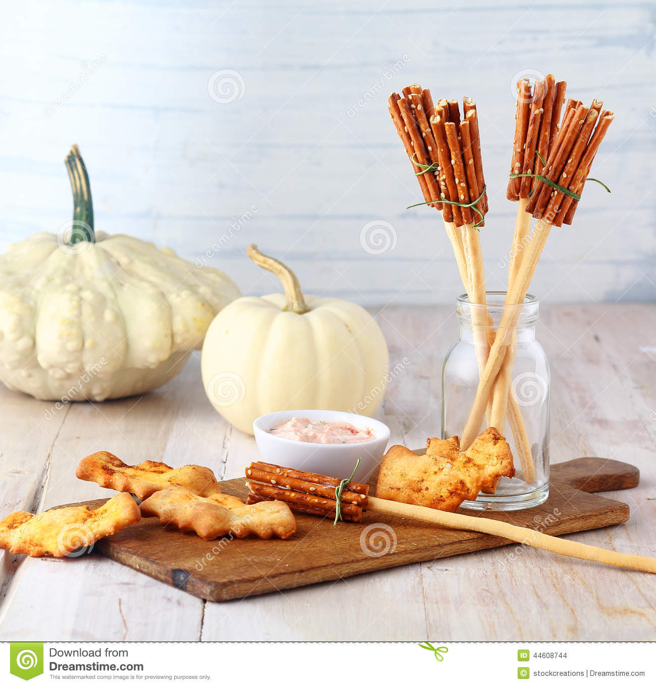 Fun Halloween Witches Broomstick Appetizers Stock Photo