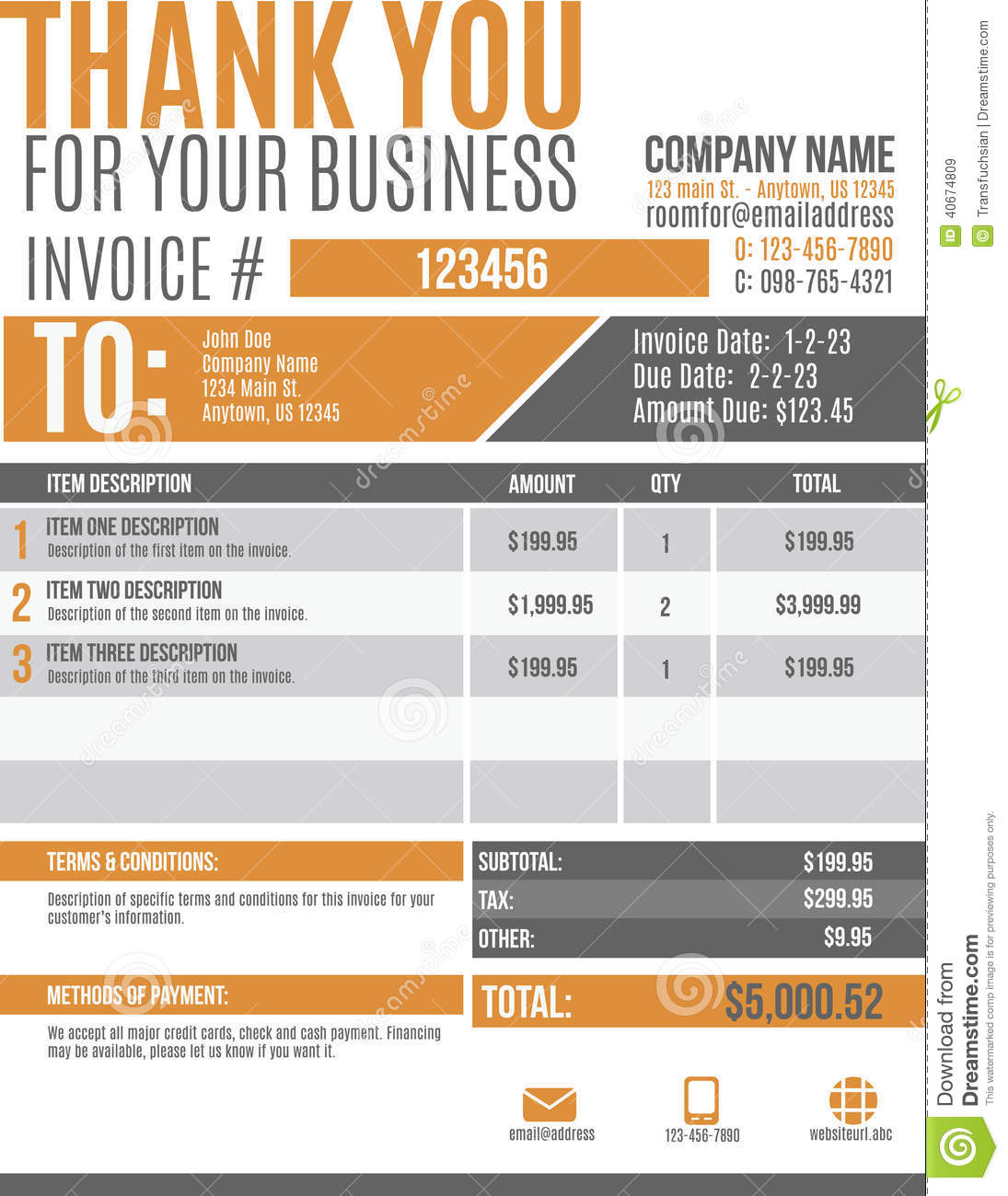 Fun Invoice Template Design Stock Vector Image 40674809