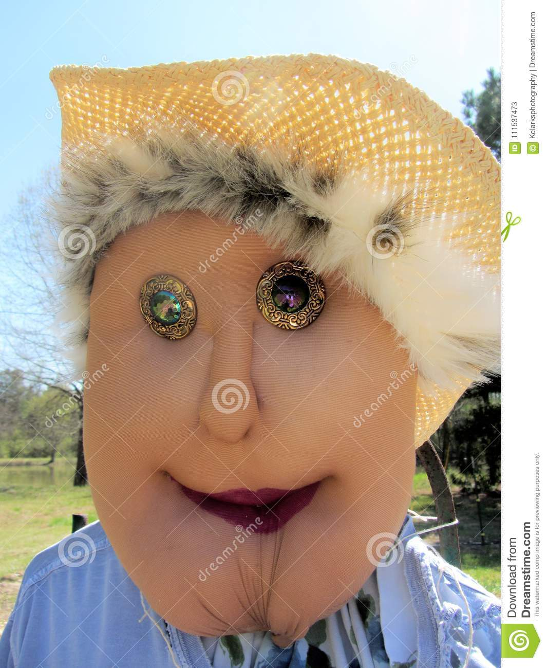 Ethel The Lady Garden Scarecrow Stock Image - Image of face, eyes ...