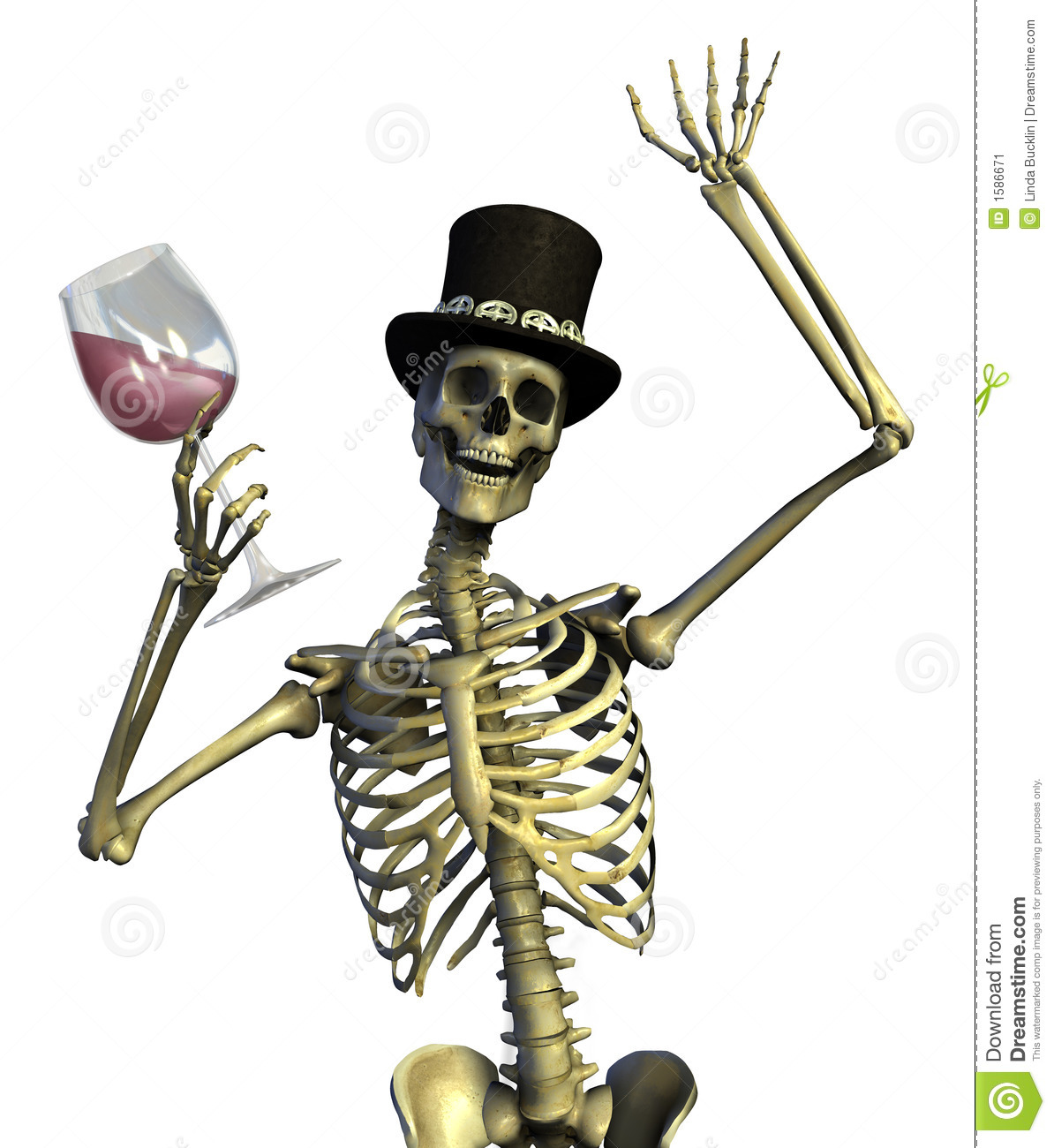 3D render of a fun loving skeleton enjoying a glass of wine.