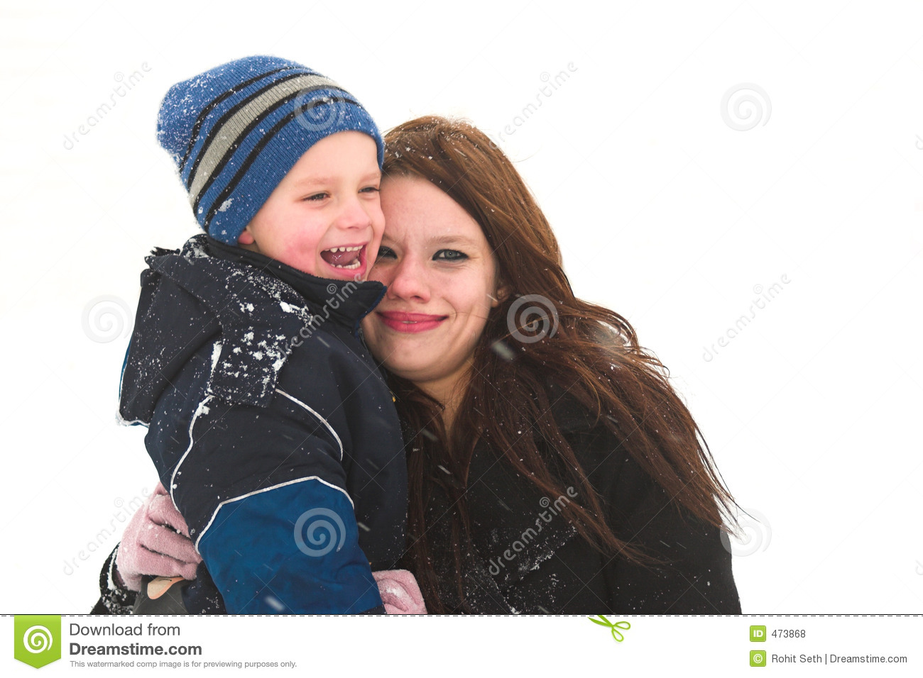 Download Fun with mom in the snow stock photo. Image of caring, excited - 473868