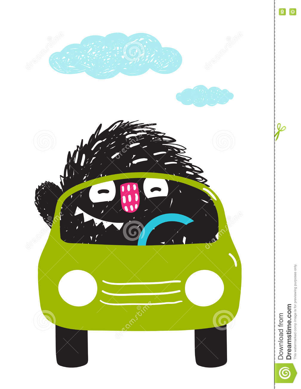 Fun Monster Driving Car Cartoon For Kids Stock Vector Image