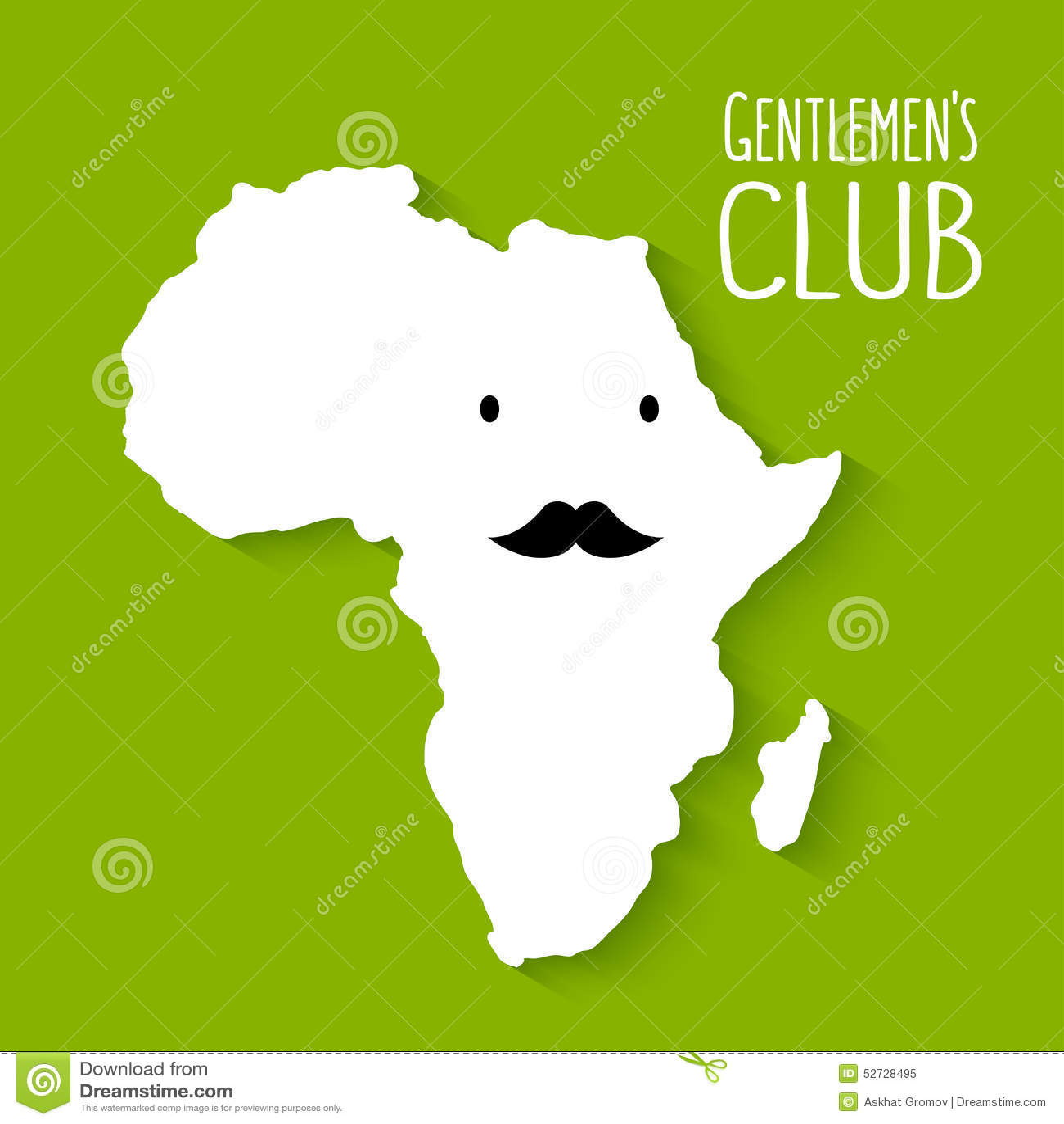 Fun Moustache Flat Cartoon Africa Map Gentleman Stock Vector