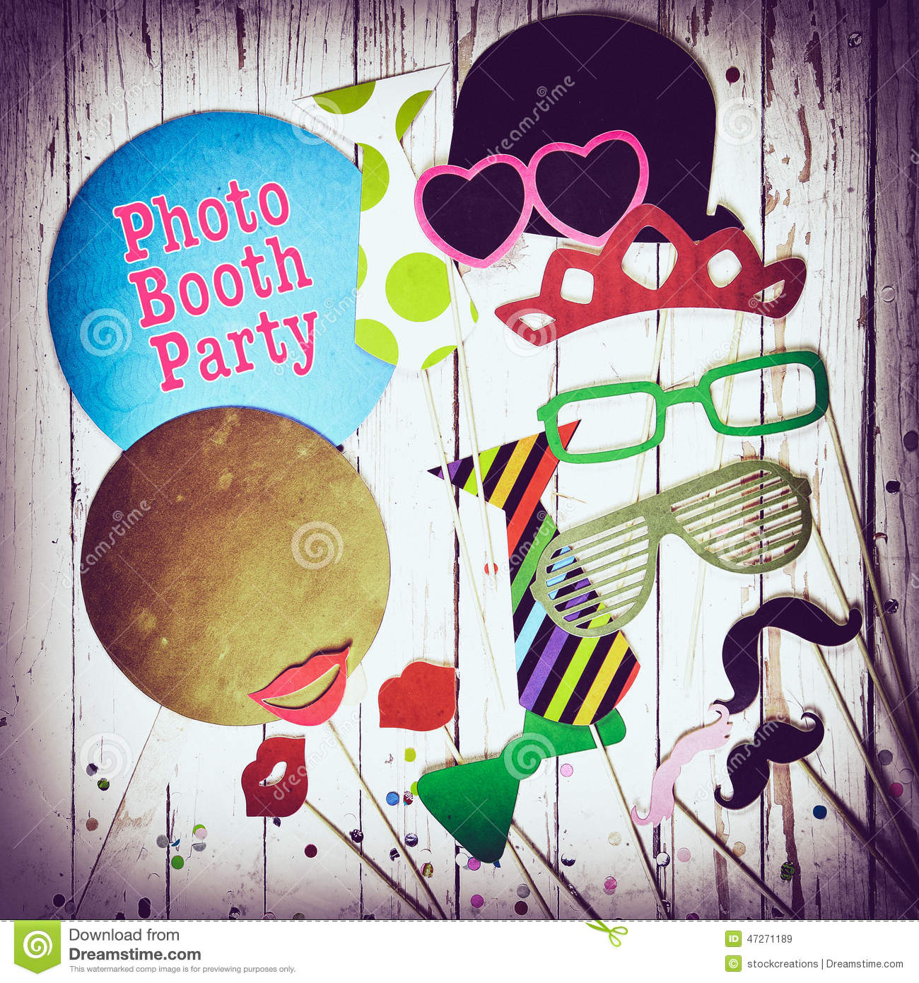Fun Photo Booth Party Background Stock Image Image 47271189