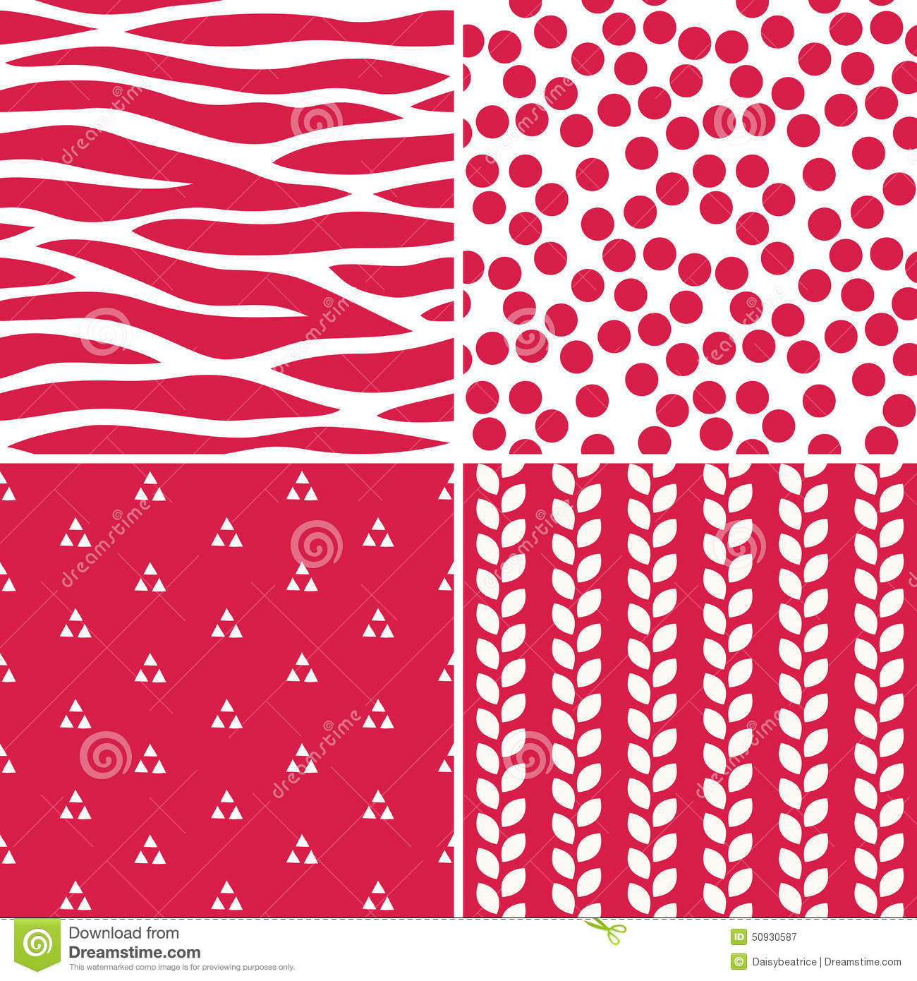 Fun Seamless Red And White Patterns Stock Vector Illustration Of