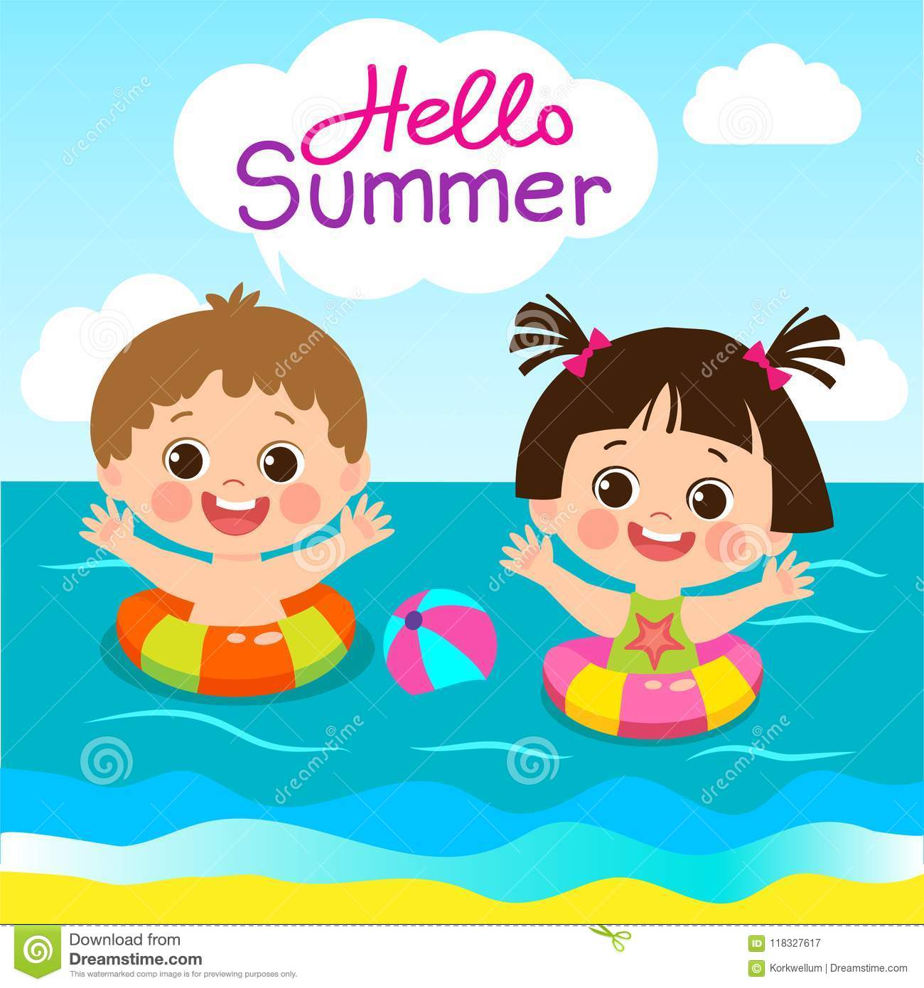Fun Summer Activities For Kids Summer Kids Vector Cute Boy And Girl With Swim Ring Stock Vector Illustration Of Cute Caucasian 118327617