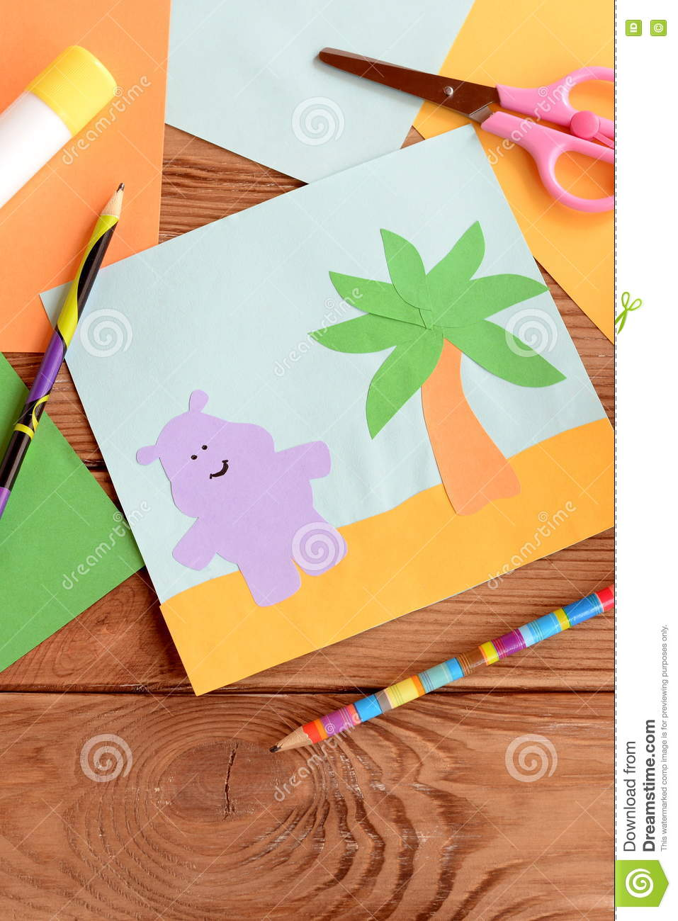Fun Summer Card With A Hippopotamus And A Palm Tree On A Wooden