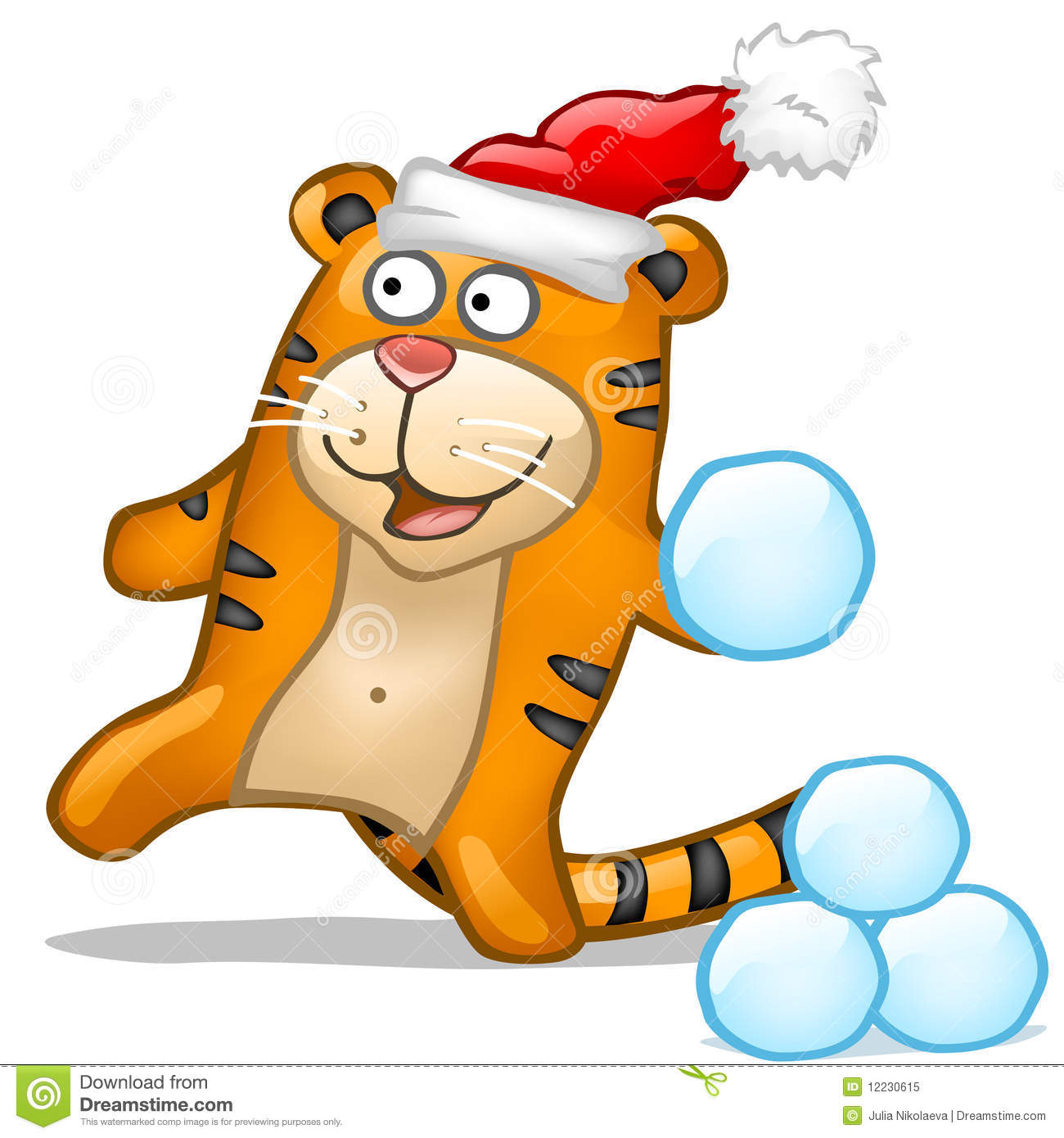 Snowball Fight Clipart Fun tiger with snowball in red